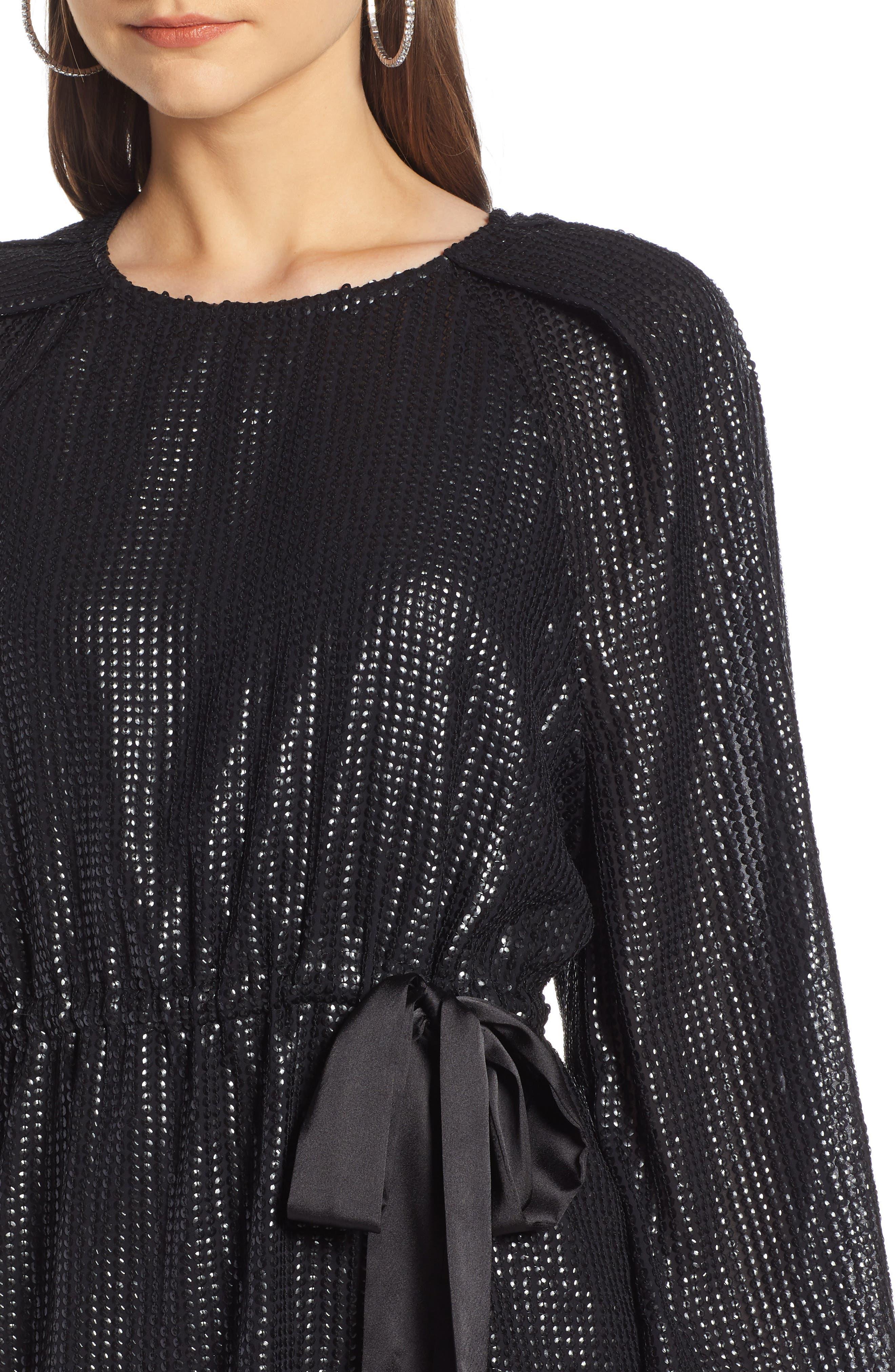 Sequin Raglan Minidress,                             Alternate thumbnail 6, color,                             BLACK