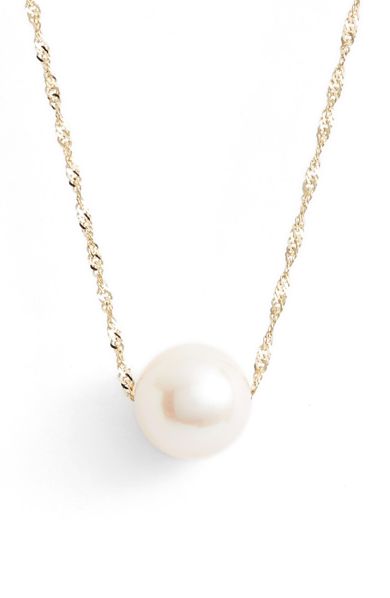 Solitaire Cultured Pearl Pendant Necklace,                         Main,                         color, YELLOW GOLD/ WHITE PEARL
