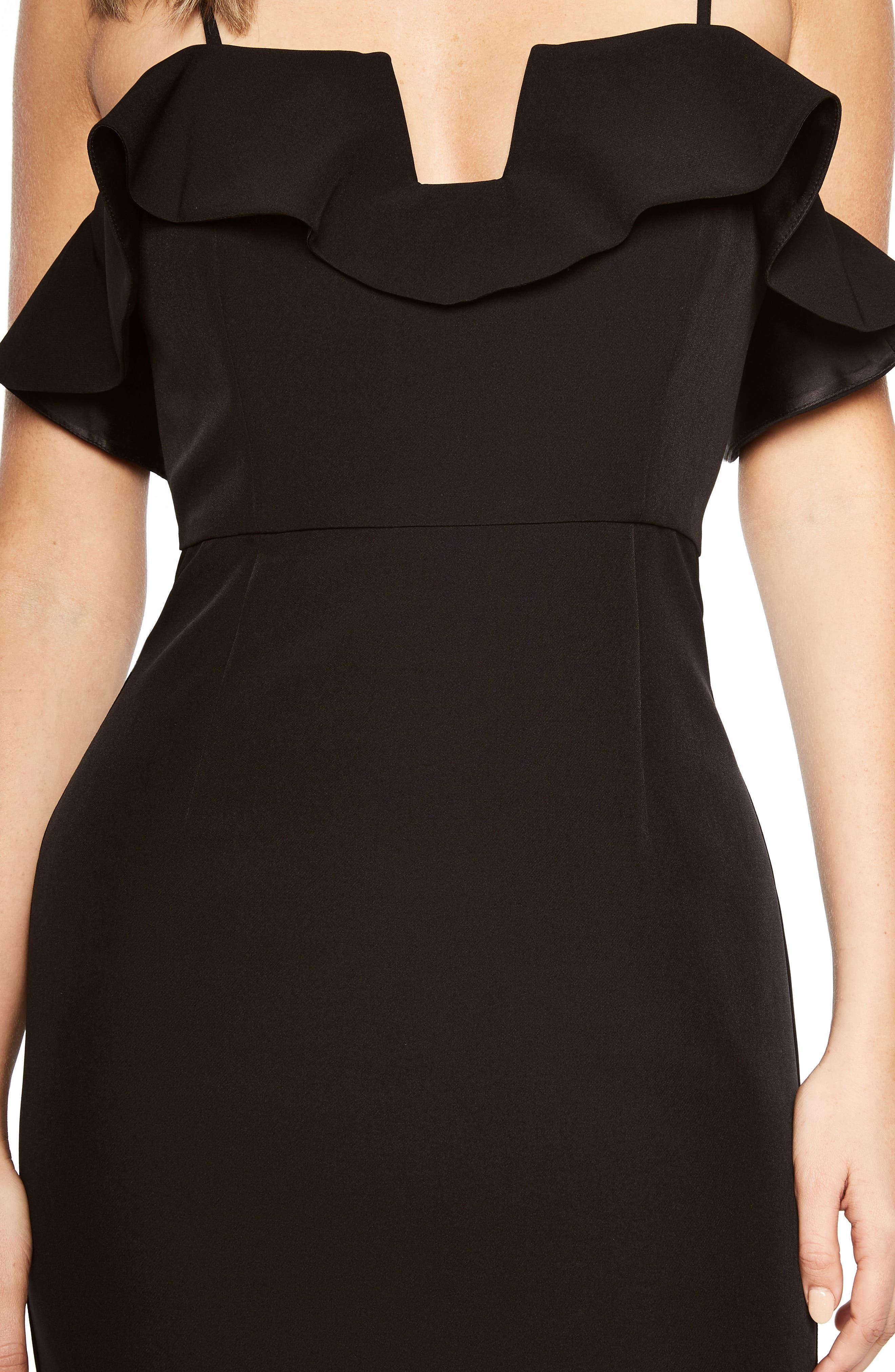 Karen Ruffled Sheath Dress,                             Alternate thumbnail 4, color,                             001