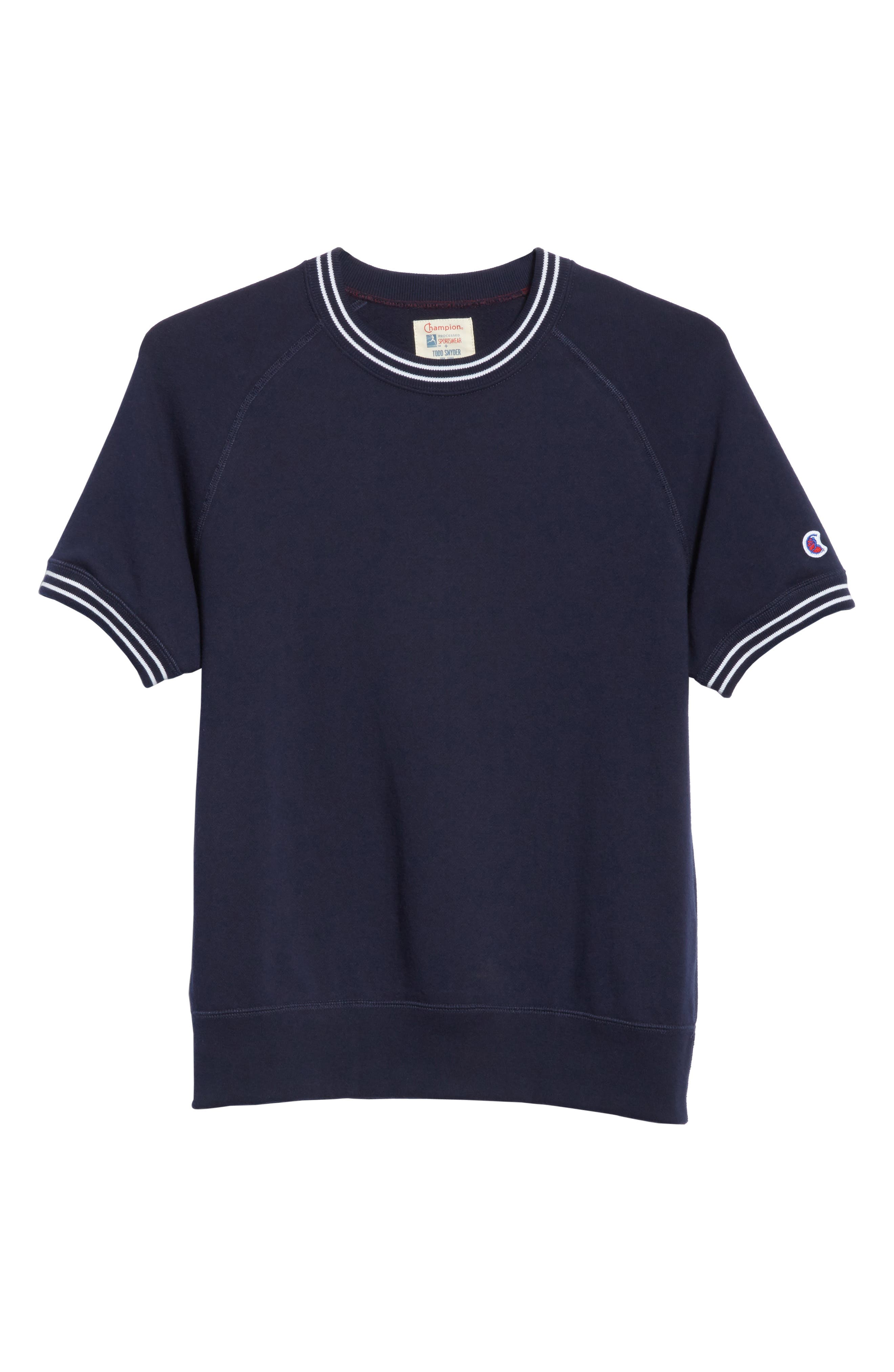 + Champion Stripe Rib Short Sleeve Sweatshirt,                             Alternate thumbnail 6, color,                             410