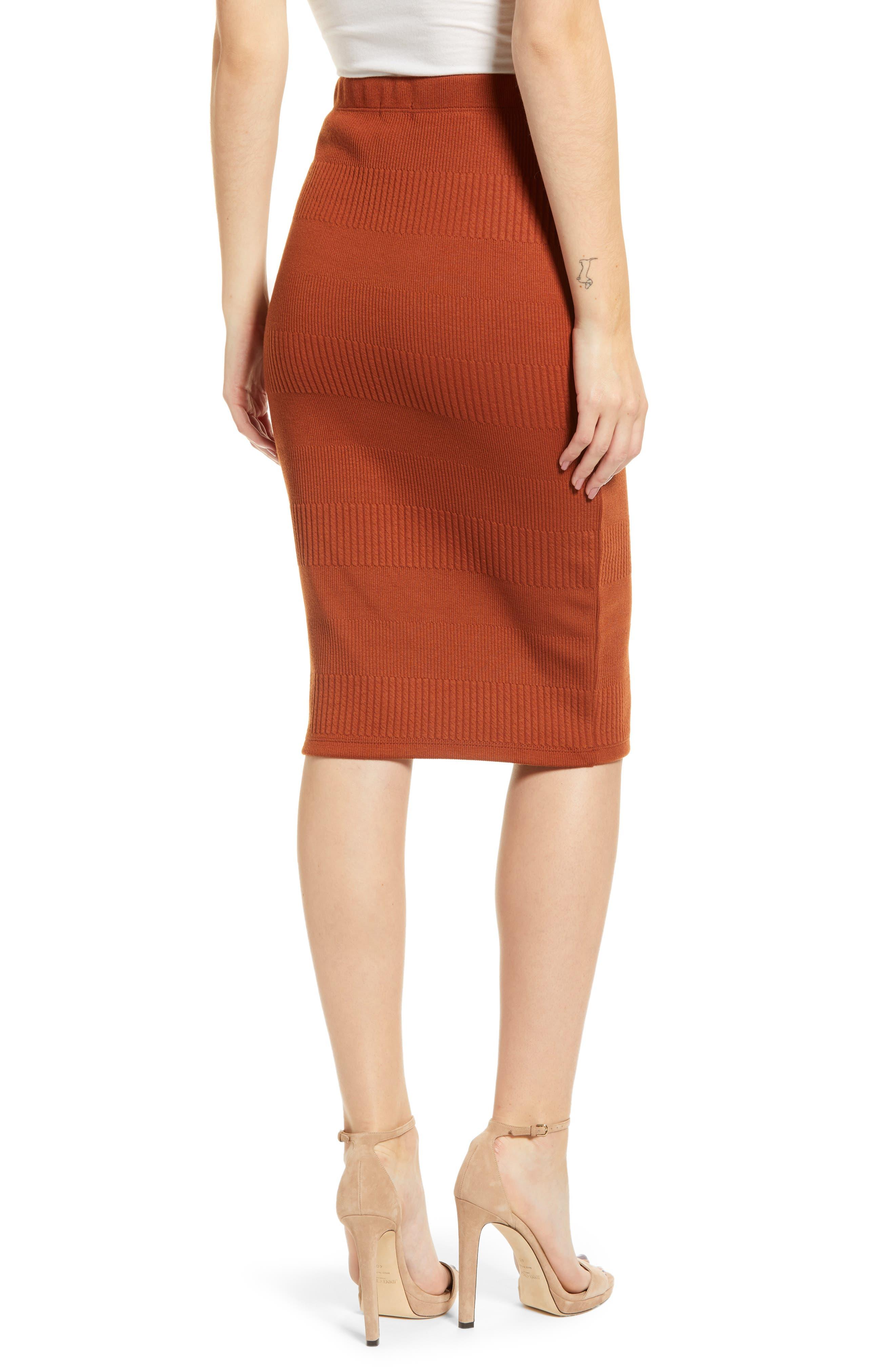 Midi Pencil Skirt,                             Alternate thumbnail 2, color,                             BROWN SPICE