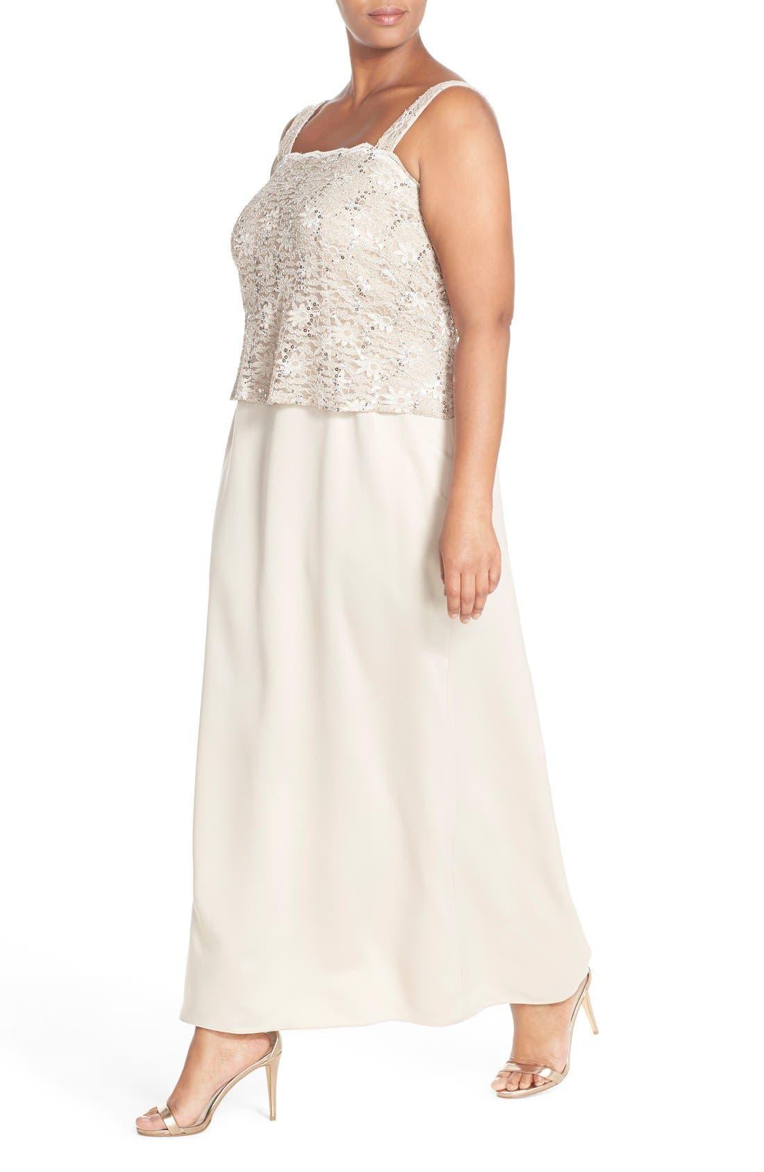Alex Evening A-Line Gown & Lace Jacket,                             Alternate thumbnail 13, color,