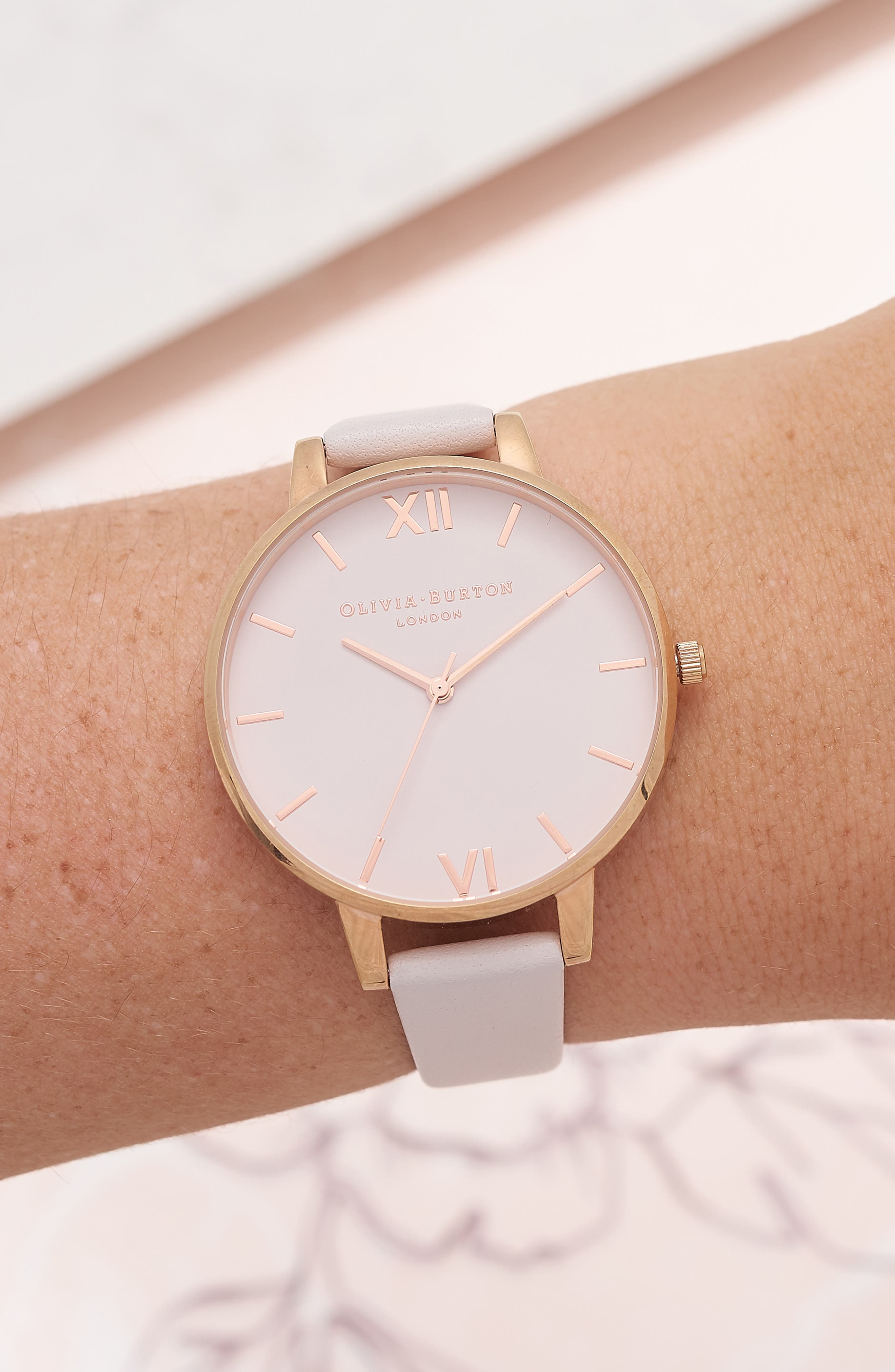 Begin to Blush Leather Strap Watch, 38mm,                             Alternate thumbnail 2, color,                             BLUSH/ ROSE GOLD