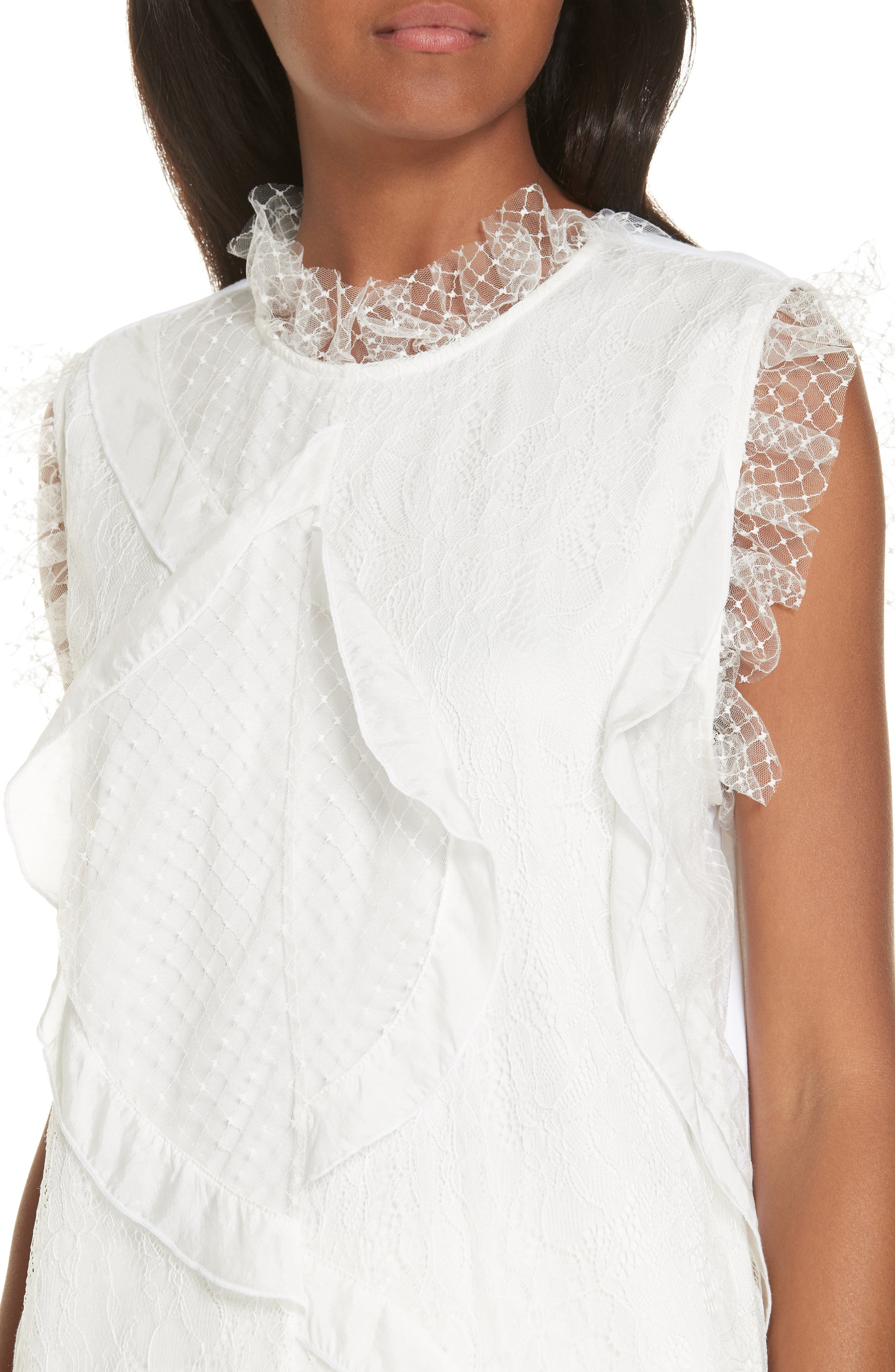 Paneled Mix Lace Sleeveless Top,                             Alternate thumbnail 4, color,                             WHITE