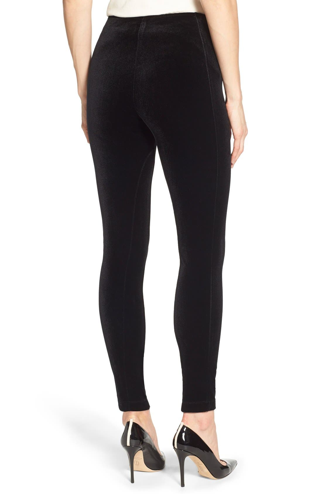 Mara Velvet Leggings,                             Alternate thumbnail 7, color,                             BLACK