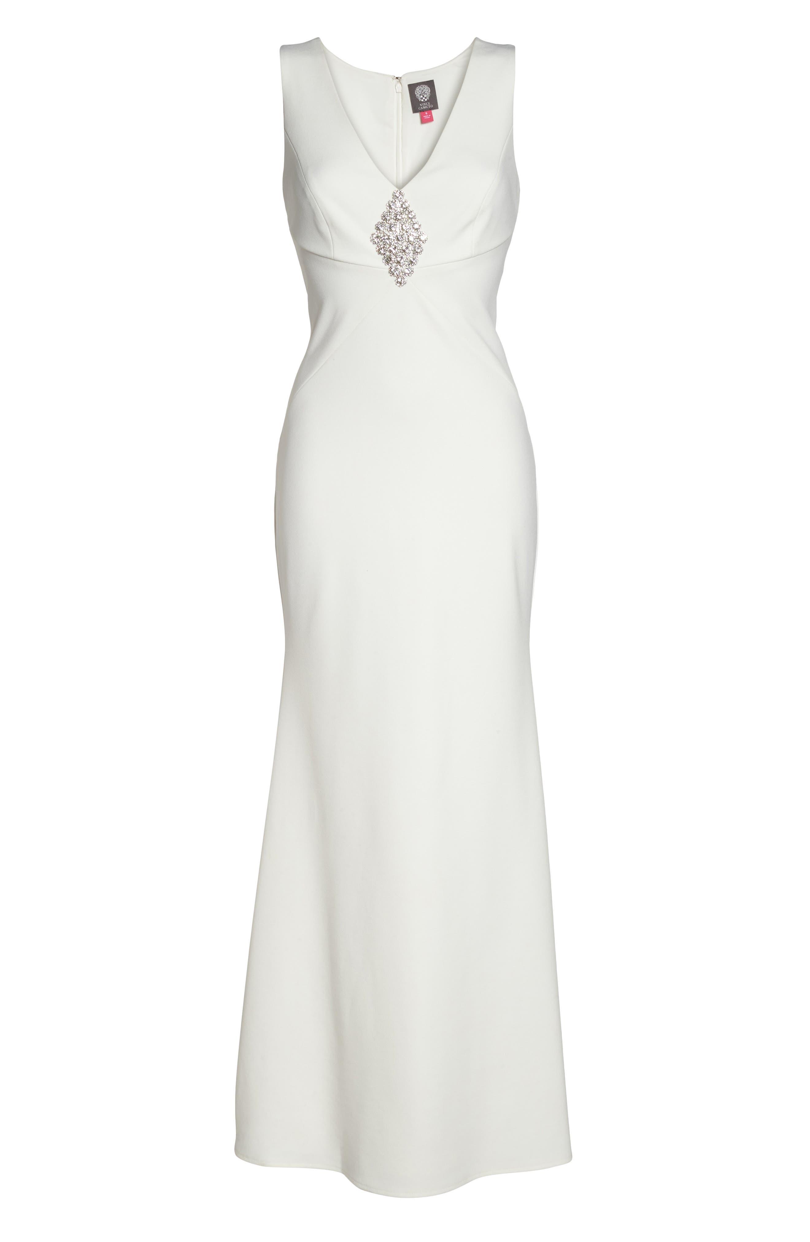 Embellished Scuba Crepe Gown,                             Alternate thumbnail 6, color,                             112