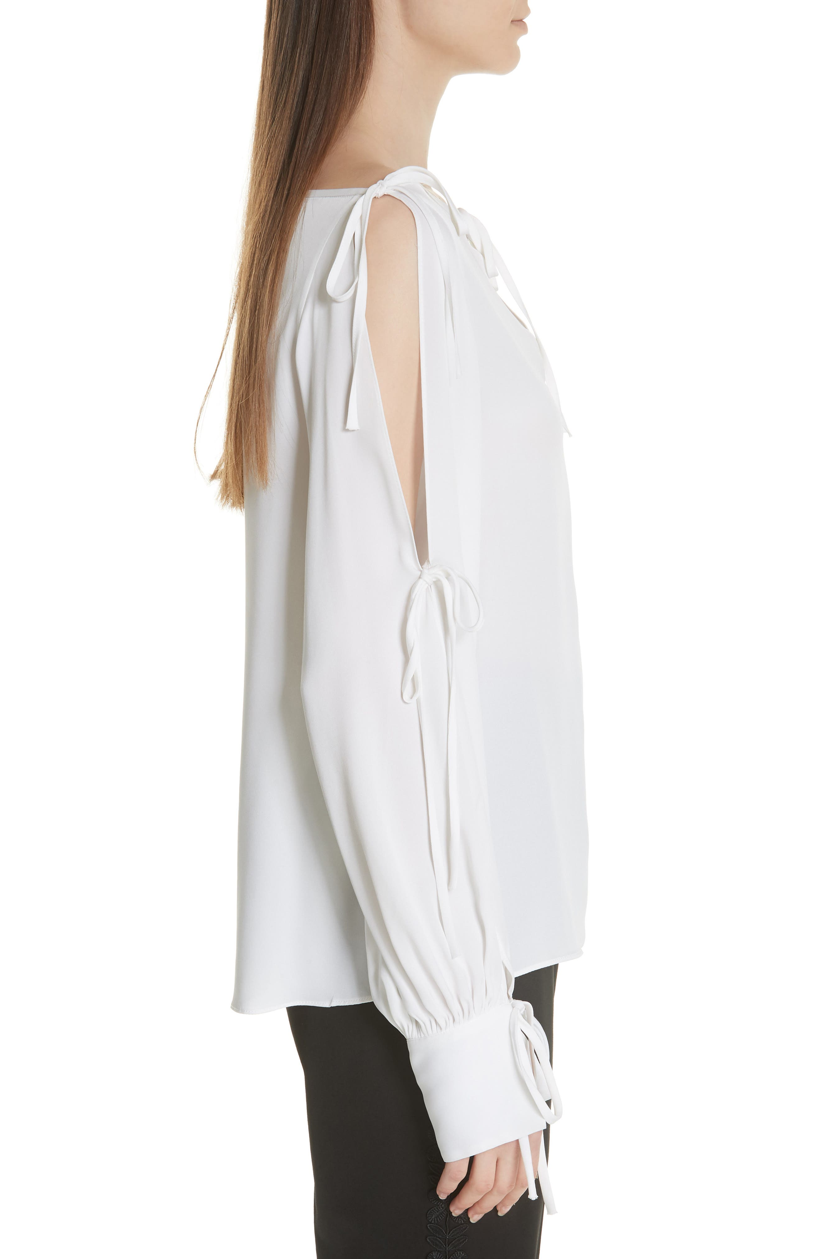 Connie Stretch Cold Shoulder Silk Top,                             Alternate thumbnail 3, color,                             WHITE