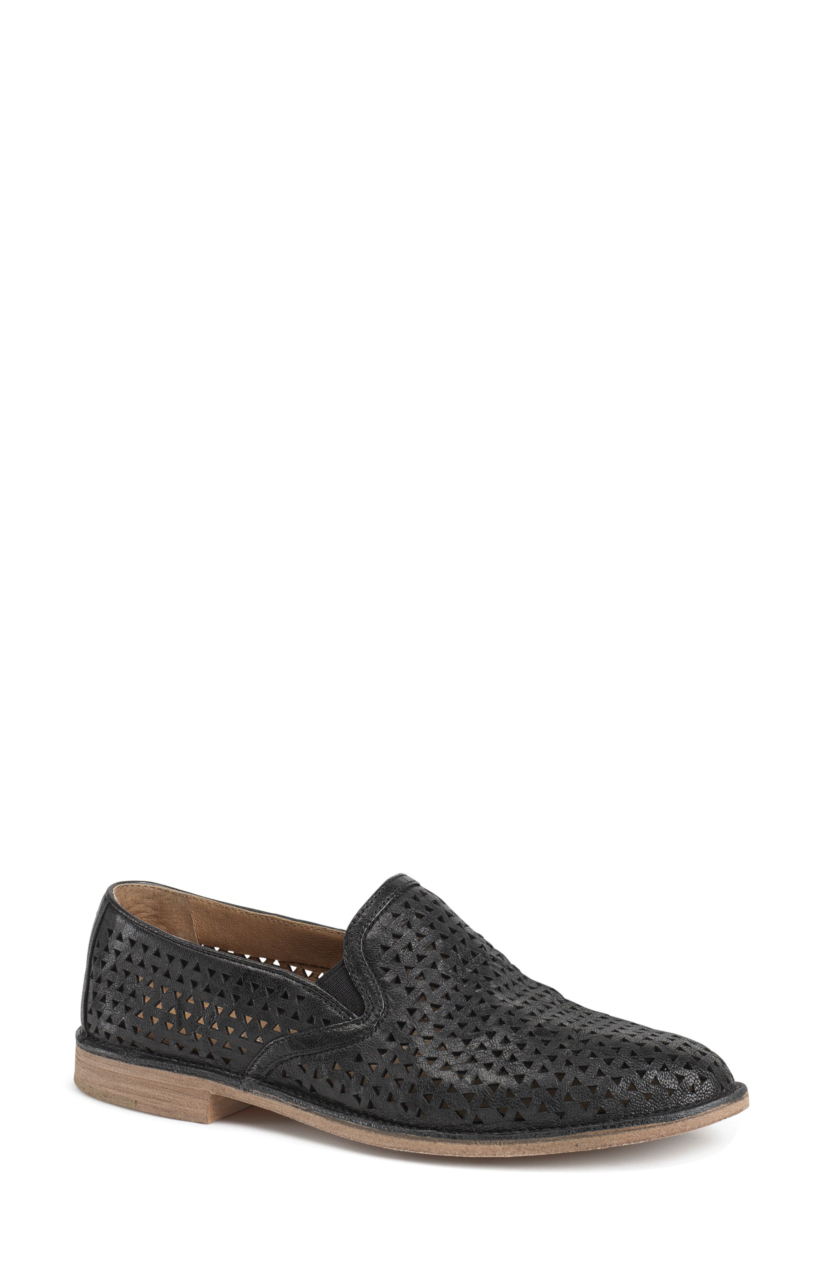 Ali Perforated Loafer,                             Main thumbnail 1, color,                             BLACK LEATHER