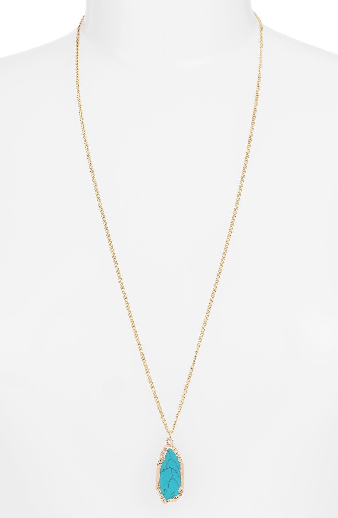 BP. Gilded Edge Stone Pendant Necklace, Main, color, 440