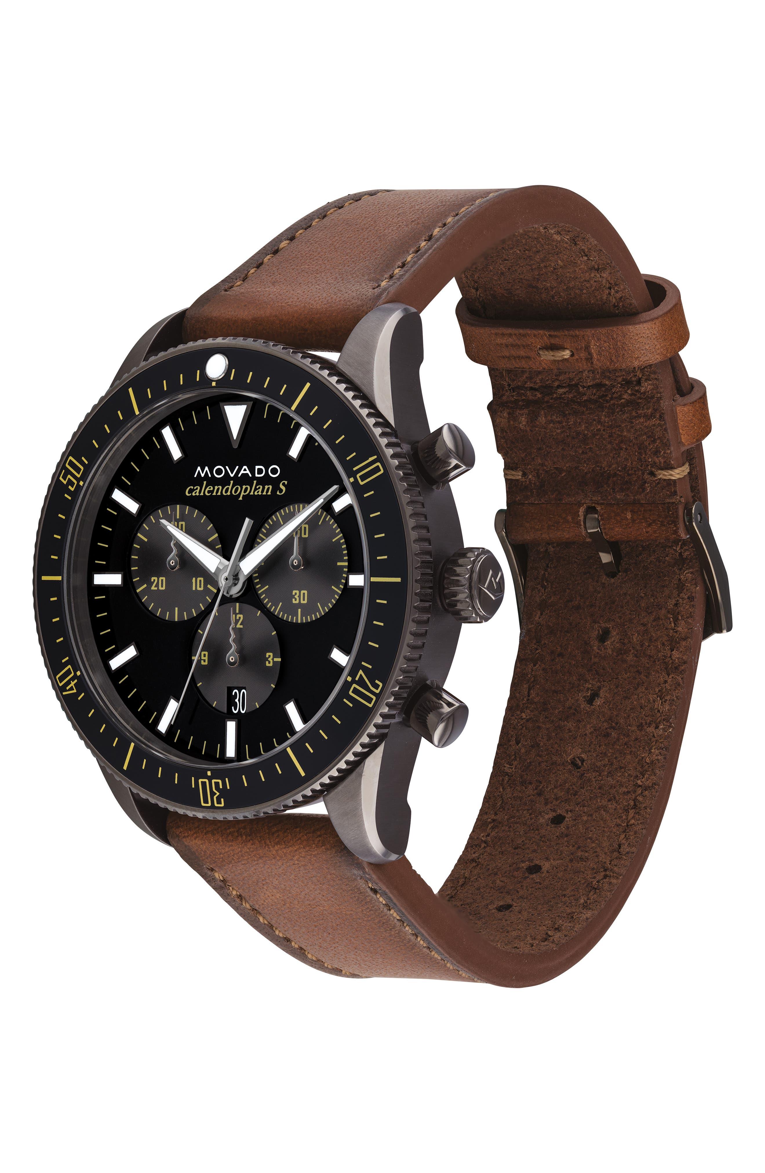 Heritage Chrono Leather Strap Watch, 42mm,                             Alternate thumbnail 3, color,                             COGNAC/ BLACK/ GREY