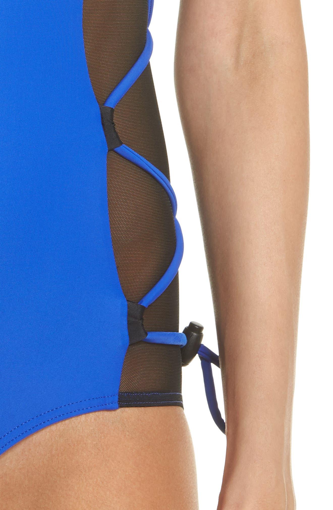 Launch One-Piece Swimsuit,                             Alternate thumbnail 4, color,                             BLUE/ BLACK