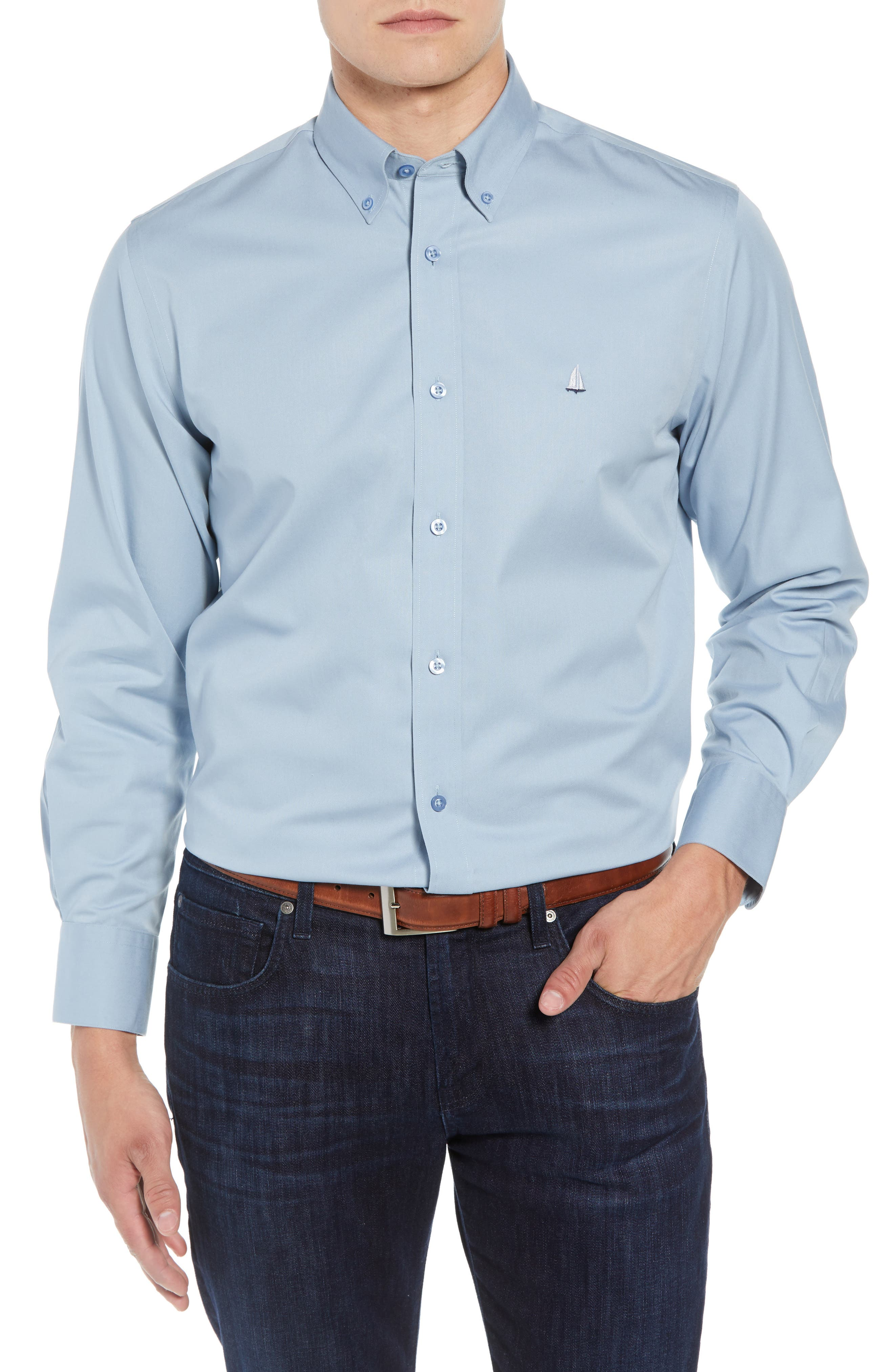 NORDSTROM MEN'S SHOP,                             Smartcare<sup>™</sup> Traditional Fit Twill Boat Shirt,                             Main thumbnail 1, color,                             BLUE DRIZZLE