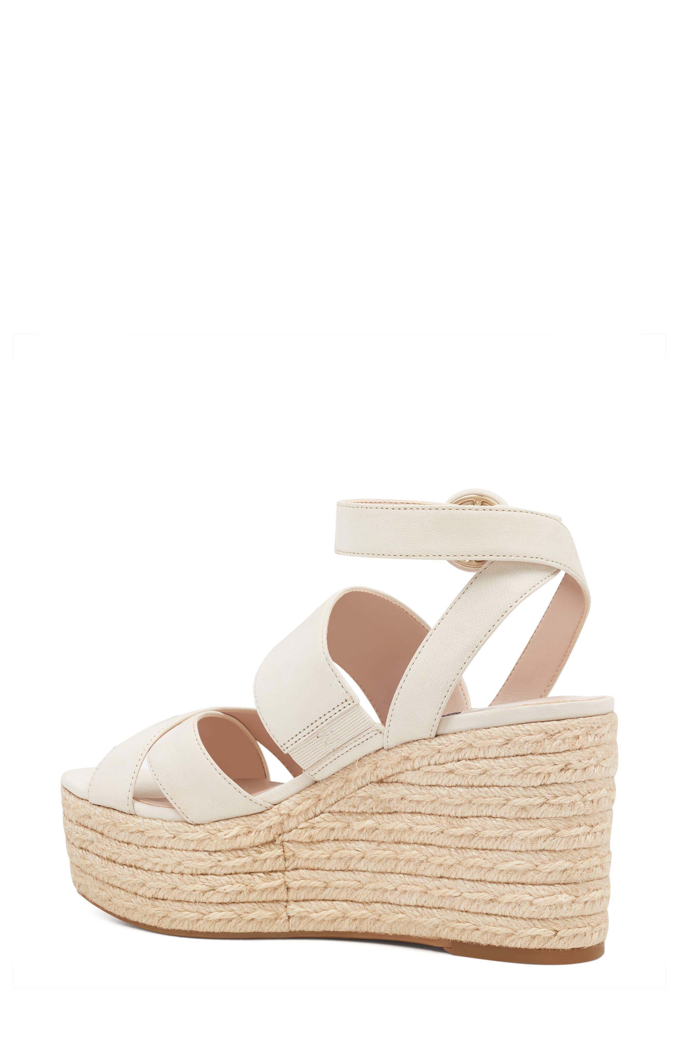Kushala Espadrille Platform Wedge Sandal,                             Alternate thumbnail 2, color,                             OFF WHITE LEATHER