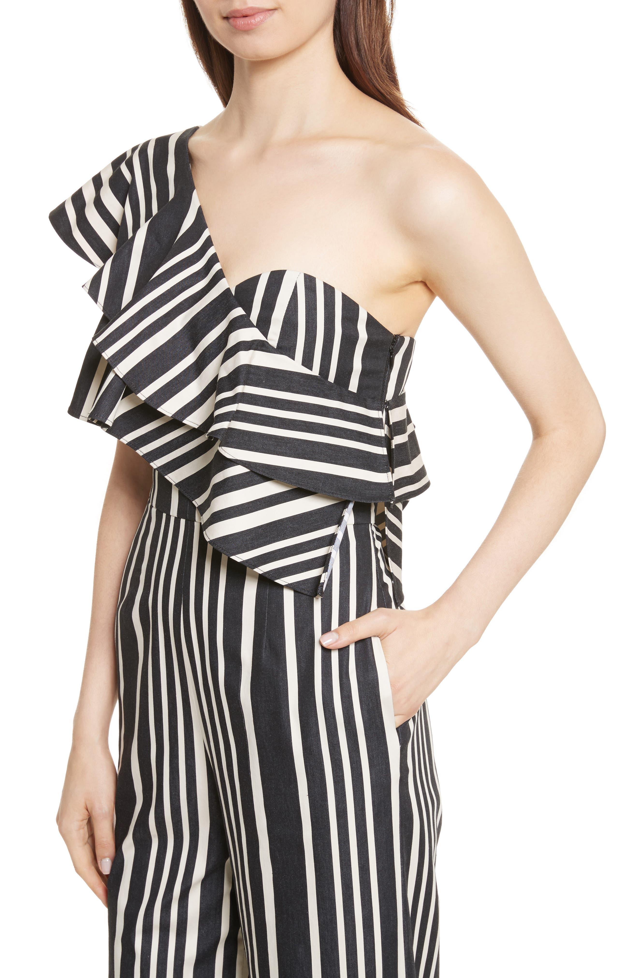 Sabeen Ruffle Stripe Crop Jumpsuit,                             Alternate thumbnail 4, color,                             009