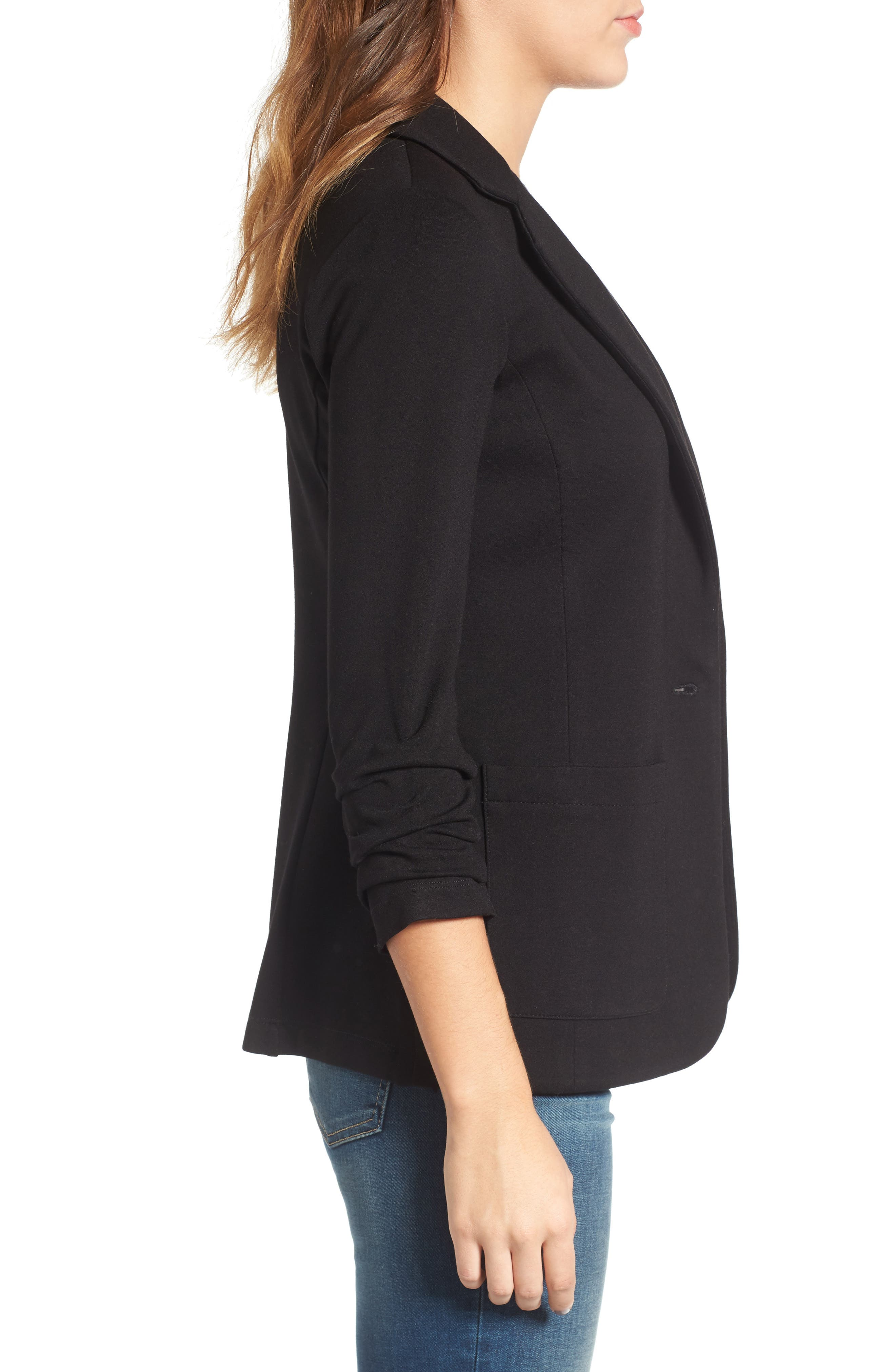 'Jane' Ruched Sleeve Knit Blazer,                             Alternate thumbnail 3, color,                             001