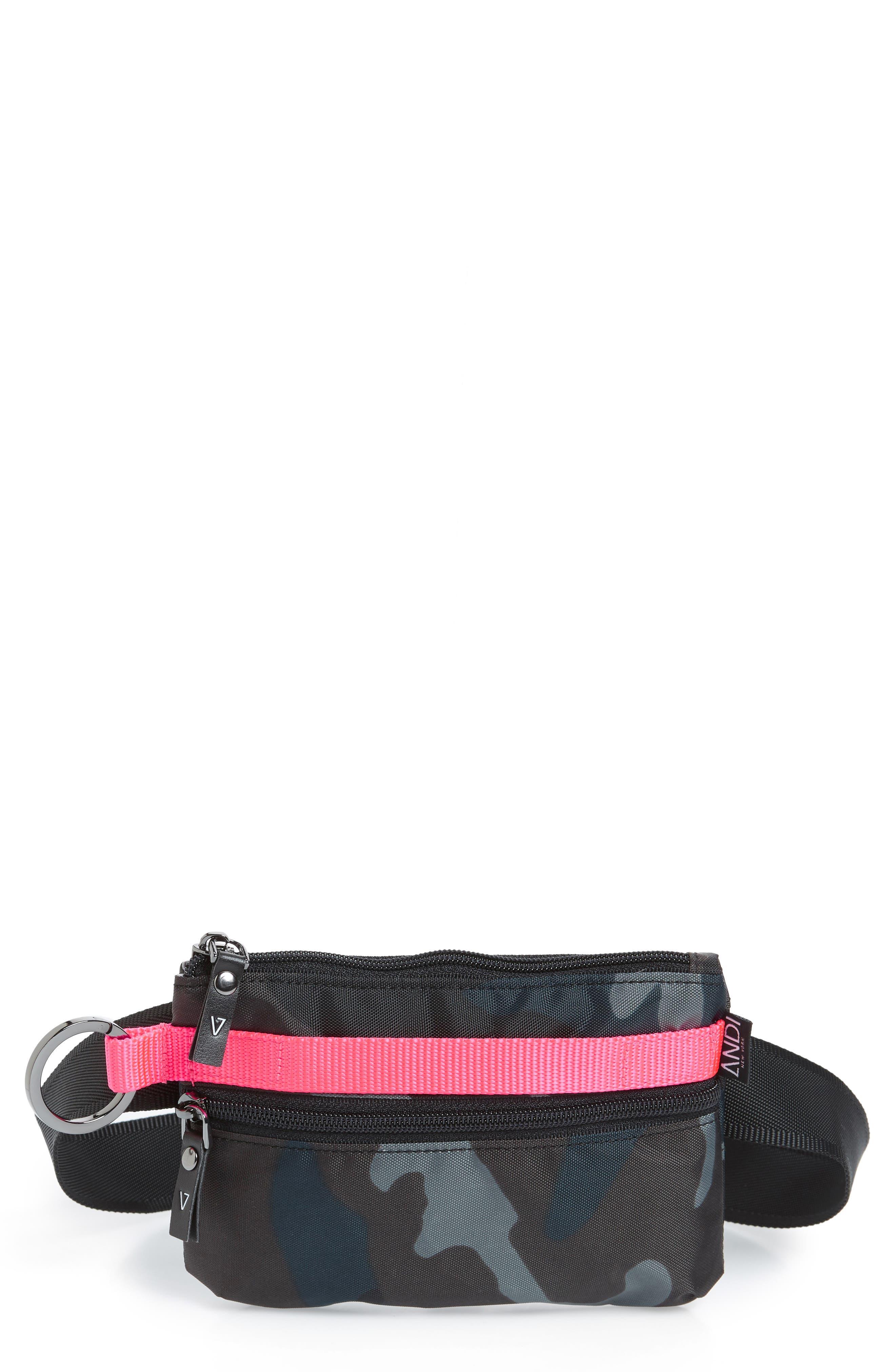 ANDI Urban Clutch Convertible Belt Bag - Blue in Navy Camo/ Hot Pink