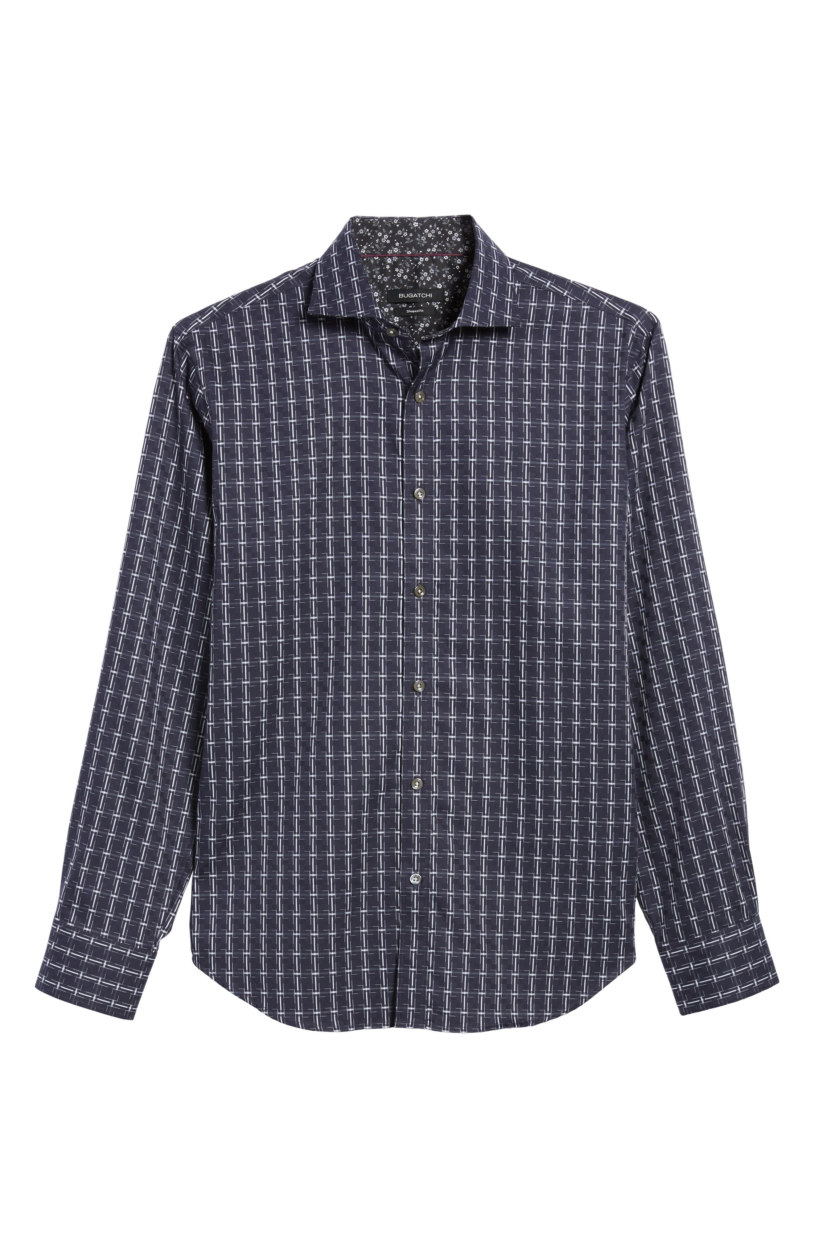 Shaped Fit Plaid Sport Shirt,                             Alternate thumbnail 6, color,