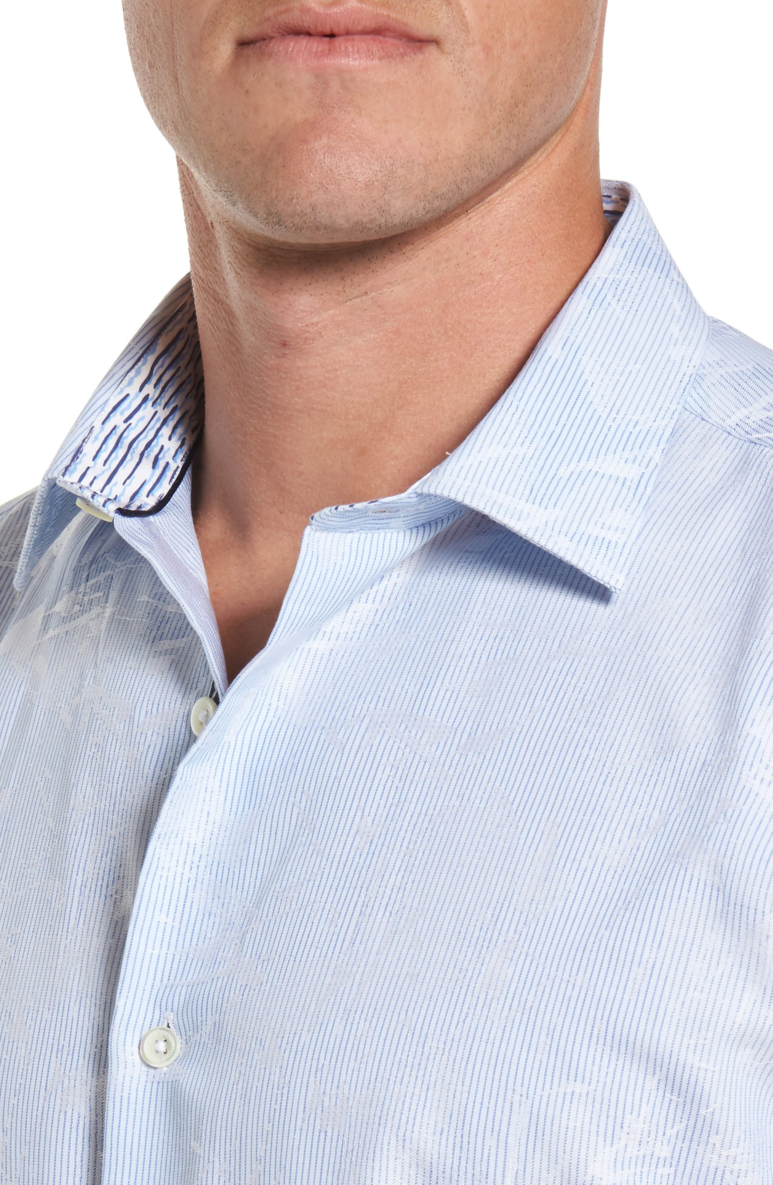 Shaped Fit Jacquard Stripe Sport Shirt,                             Alternate thumbnail 4, color,                             459