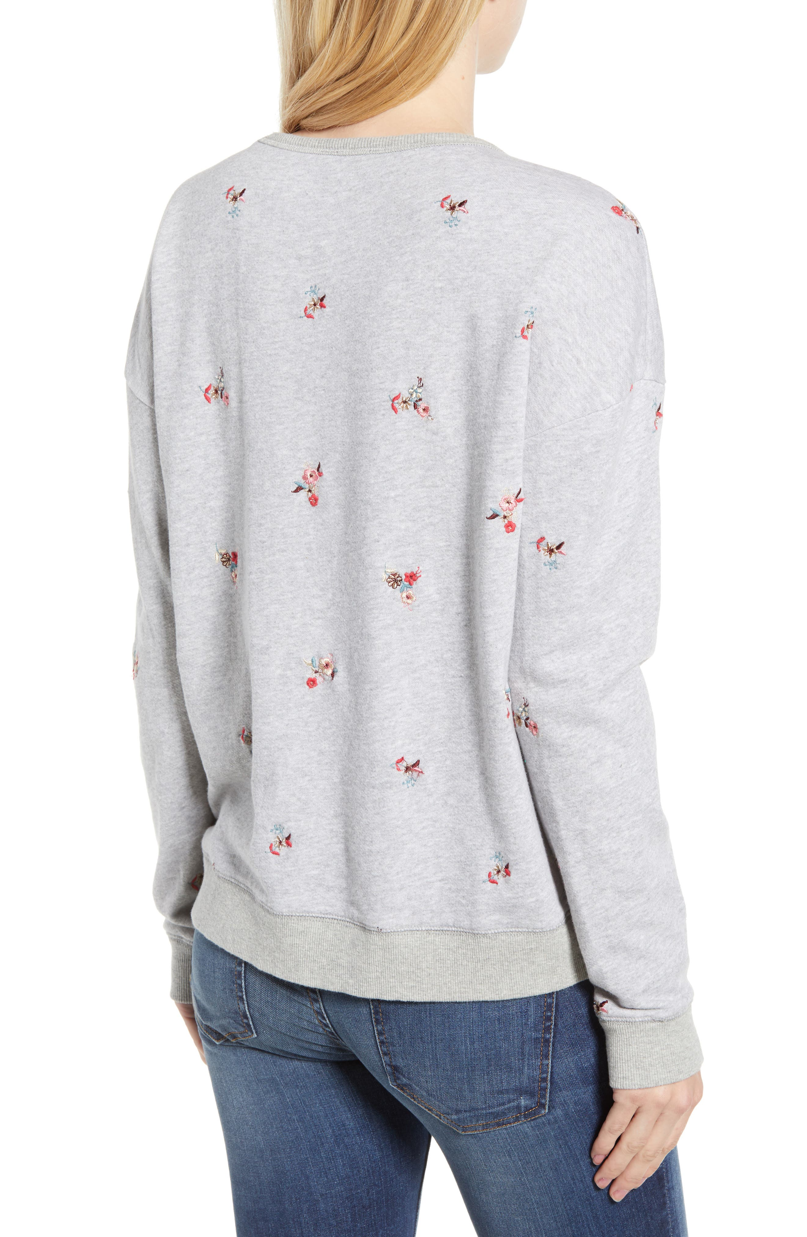 Embroidered Flowers Sweatshirt,                             Alternate thumbnail 2, color,                             030