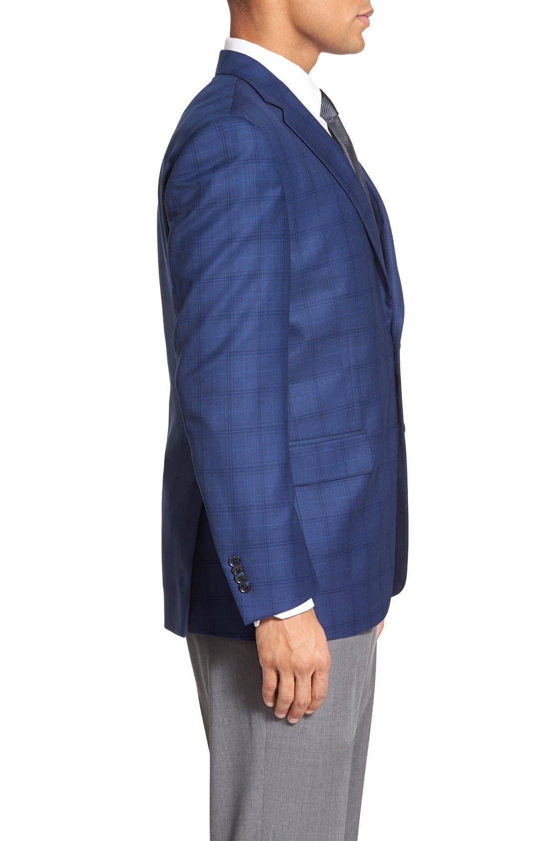 'Flynn' Classic Fit Plaid Wool Sport Coat,                             Alternate thumbnail 3, color,                             400