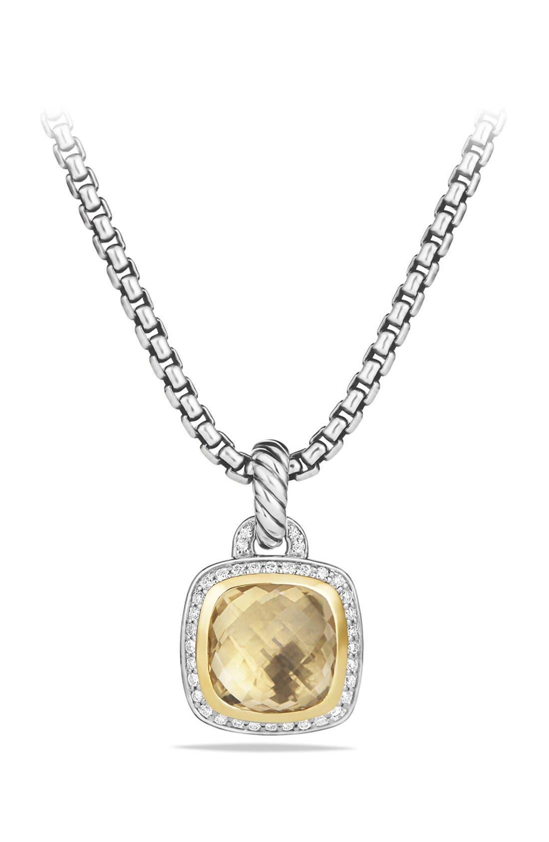 DAVID YURMAN 'Albion' Pendant with Diamonds and 18K Gold, Main, color, CHAMPAGNE CITRINE