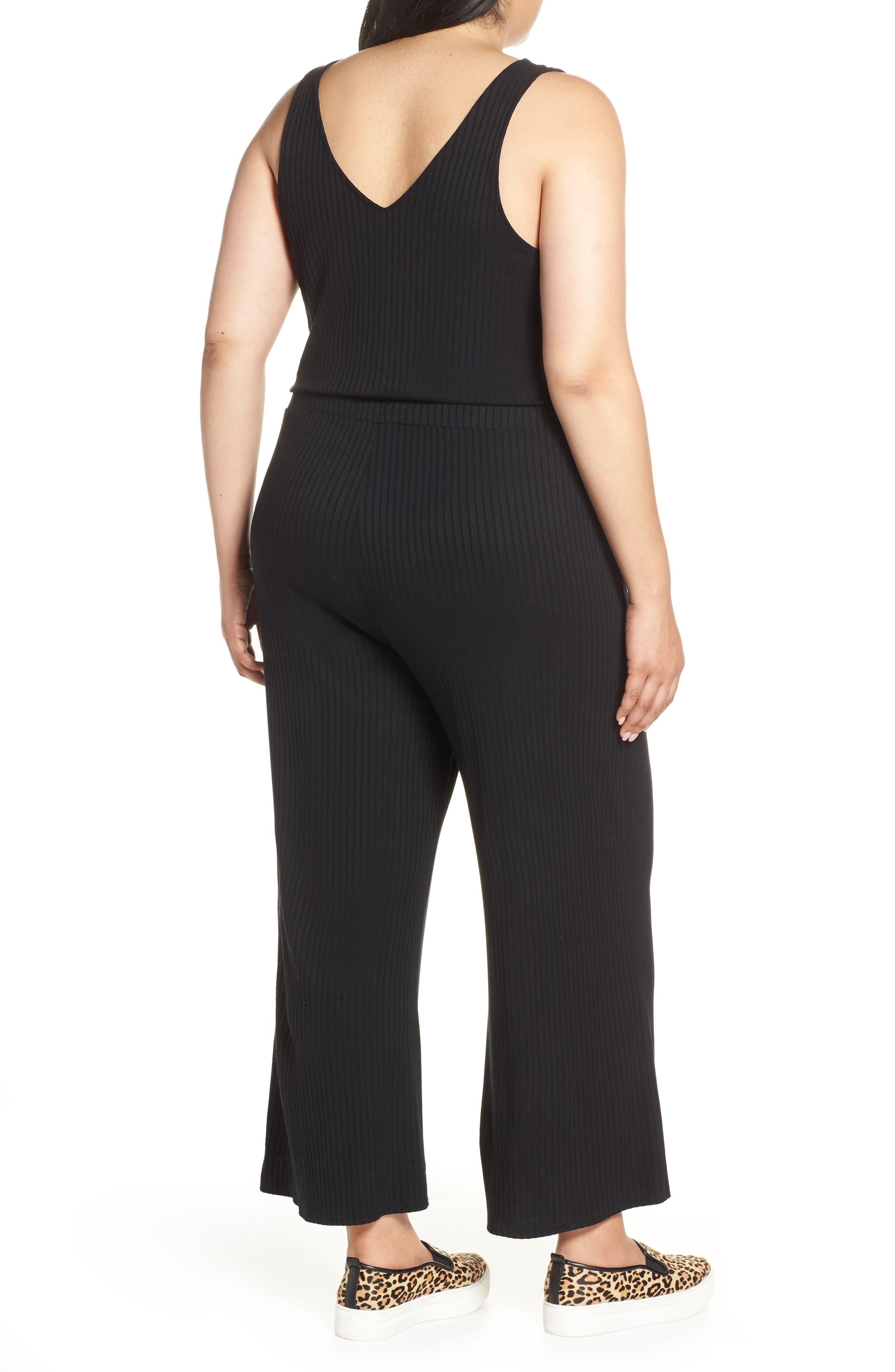 BP.,                             Wide Leg Rib Jumpsuit,                             Alternate thumbnail 9, color,                             BLACK