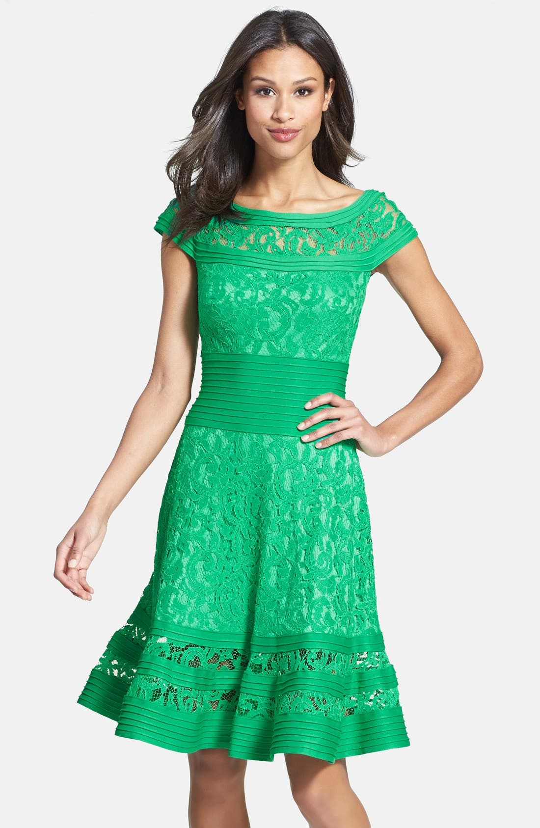 Cap Sleeve Lace Fit & Flare Dress,                             Main thumbnail 1, color,                             346