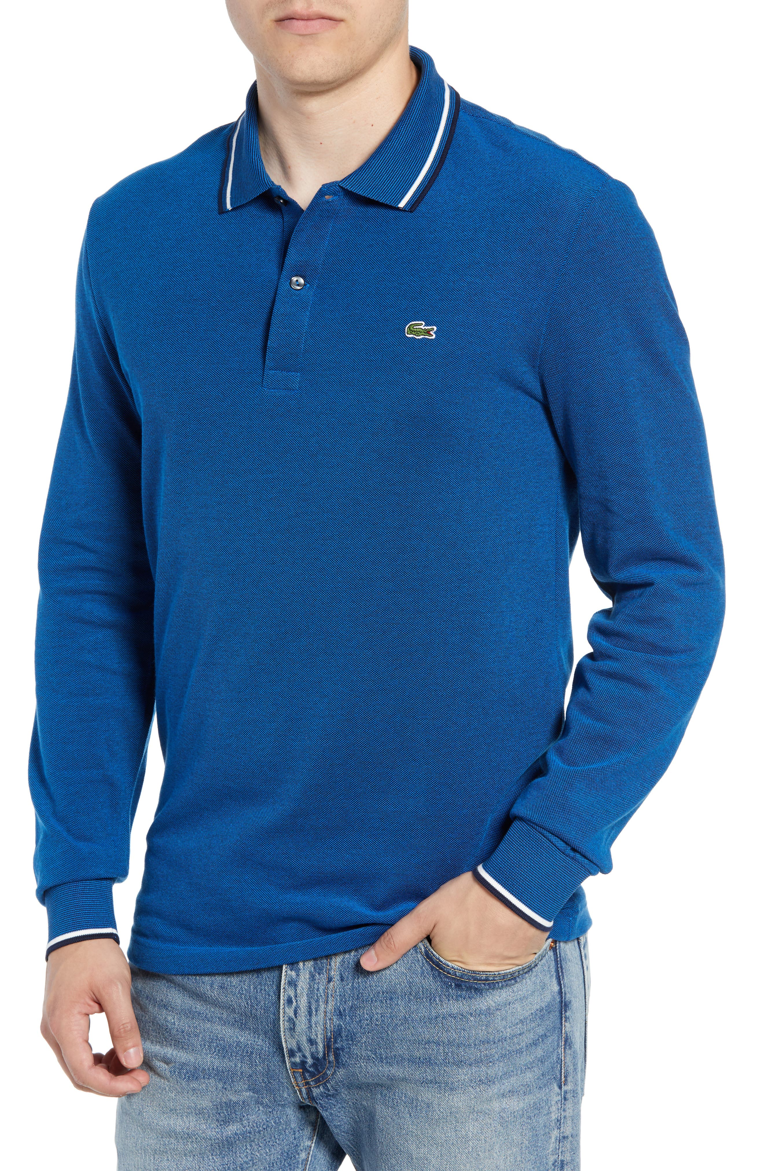 cd95177c335a4 Lacoste Slim Fit Long Sleeve Pique Polo In Blue Royal  Dark Navy Blue