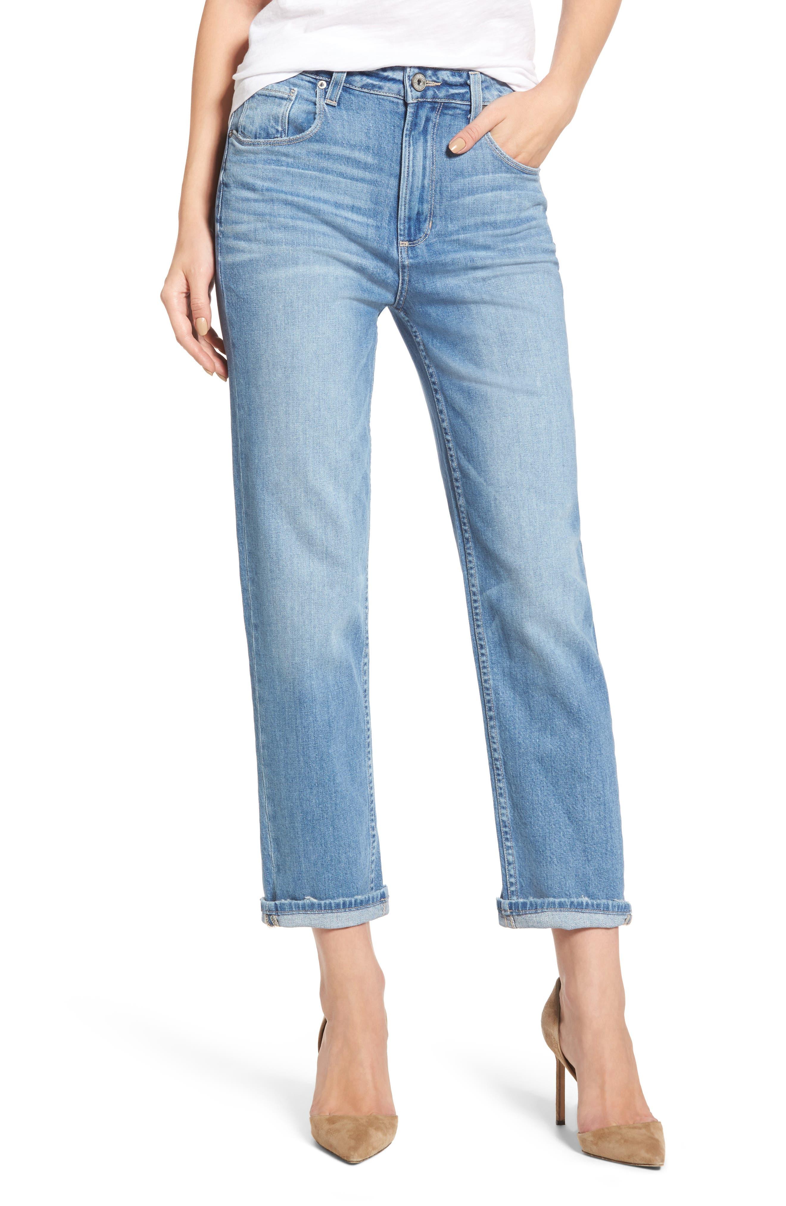 Sarah High Waist Crop Straight Leg Jeans,                             Main thumbnail 1, color,                             400