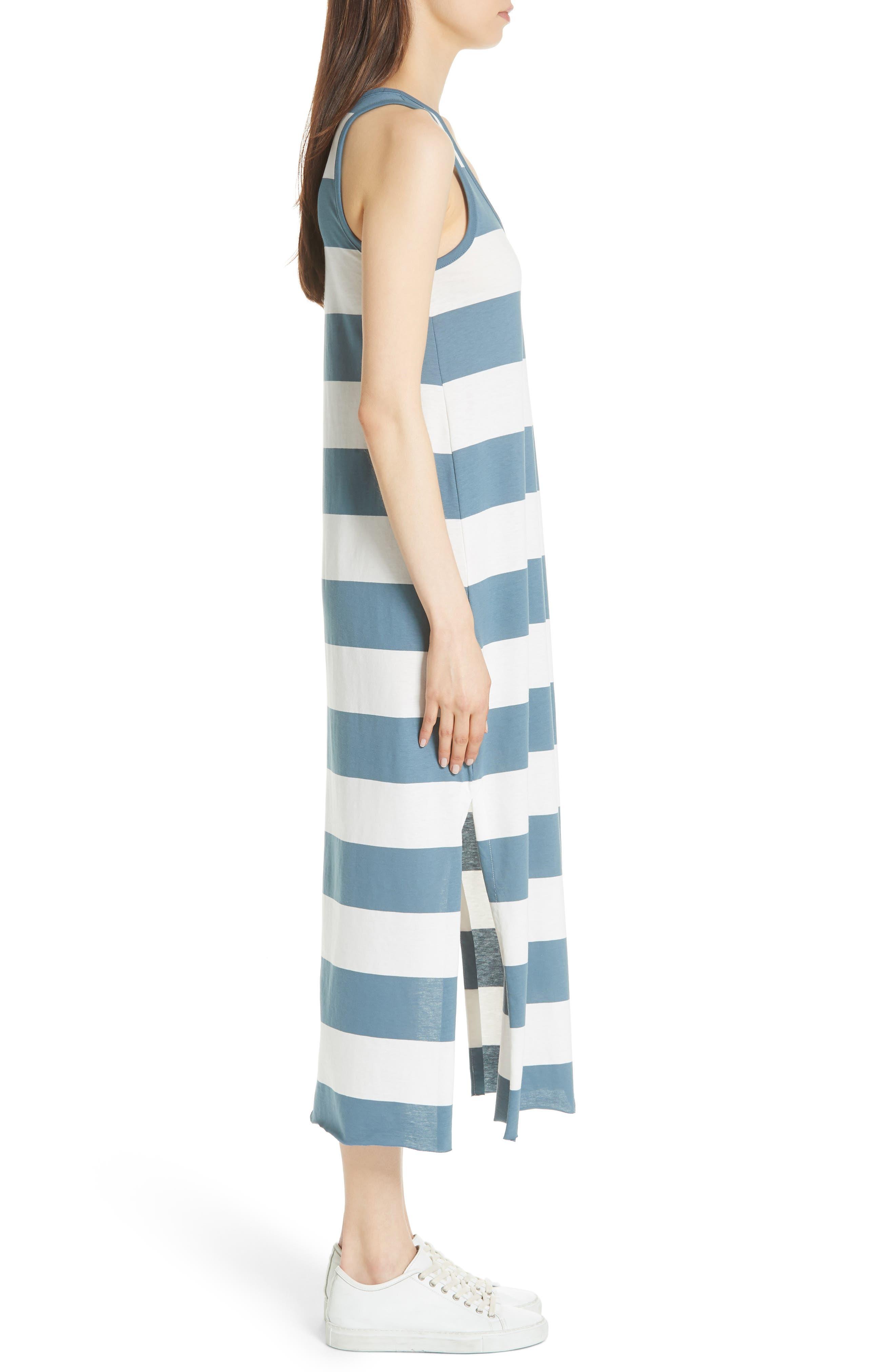 Stripe Mercerized Jersey Dress,                             Alternate thumbnail 3, color,                             CHALK/ PRUSSIAN