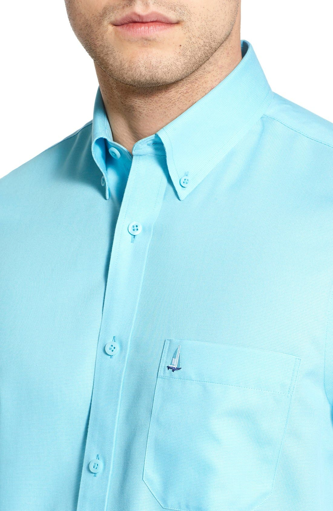'Classic' Smartcare<sup>™</sup> Regular Fit Short Sleeve Cotton Sport Shirt,                             Alternate thumbnail 73, color,
