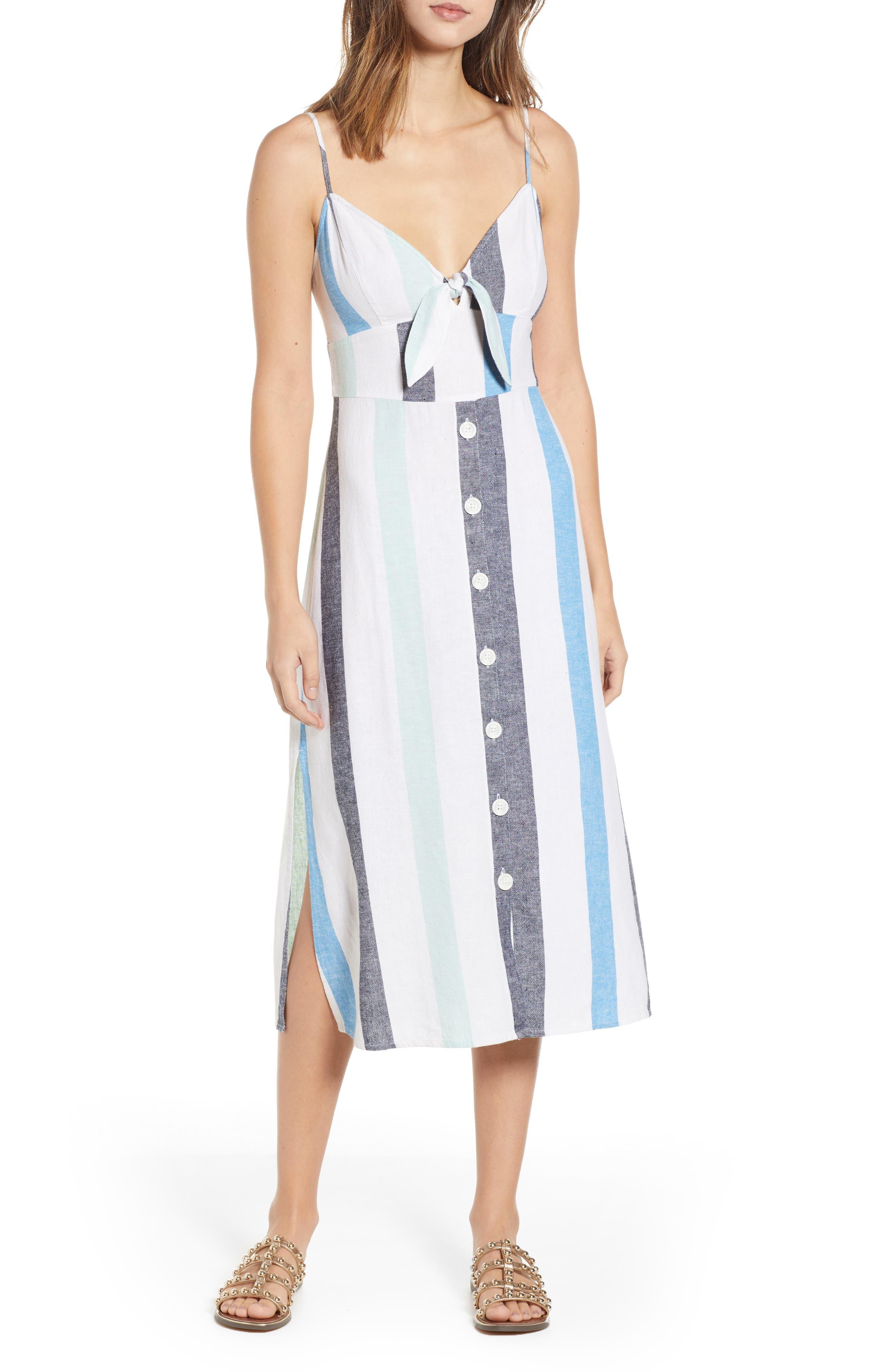 BP. Stripe Sundress, Main, color, BLUE PLACID LACY STRIPE
