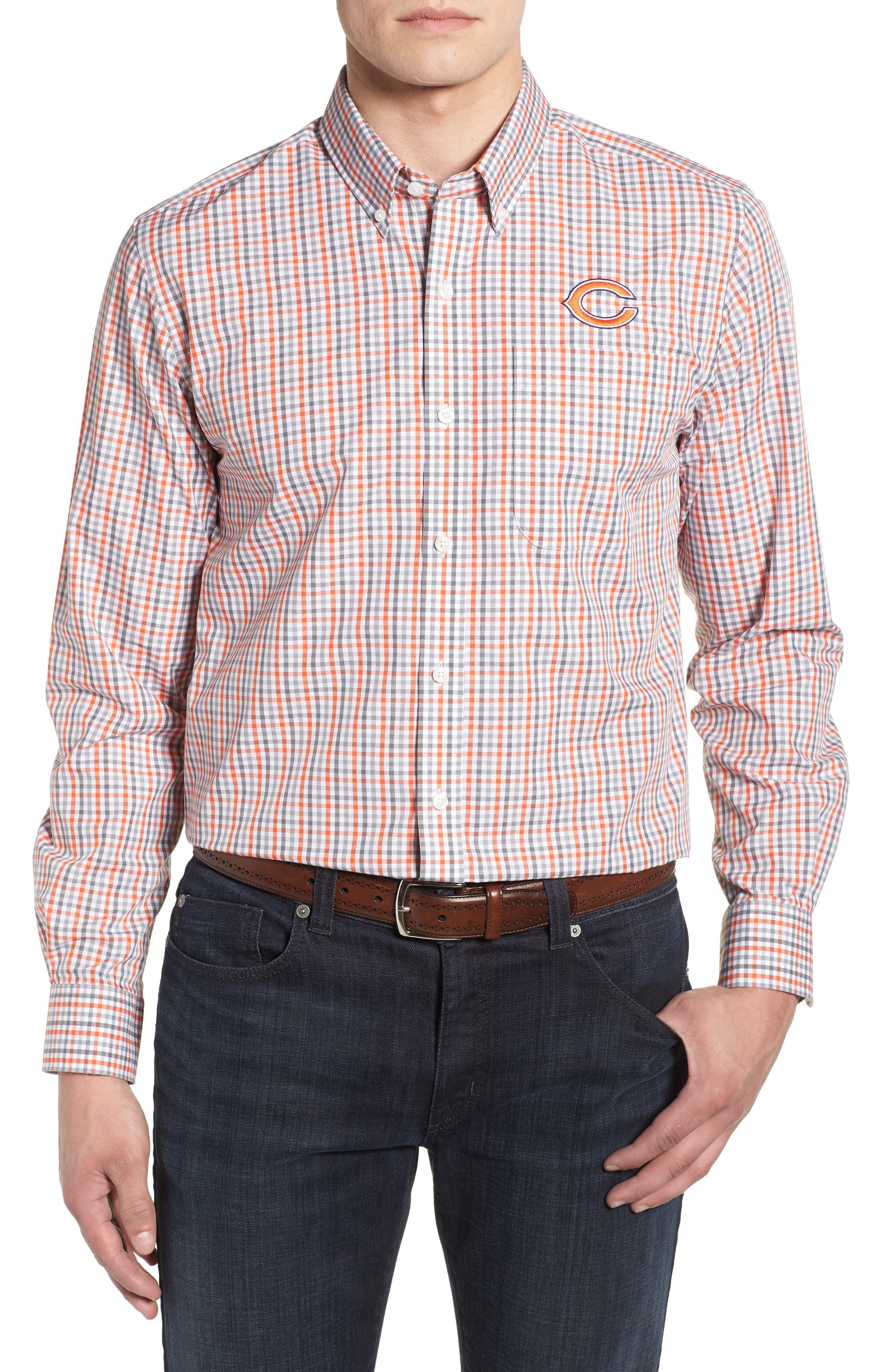 Chicago Bears - Gilman Regular Fit Plaid Sport Shirt,                             Main thumbnail 1, color,                             COLLEGE ORANGE