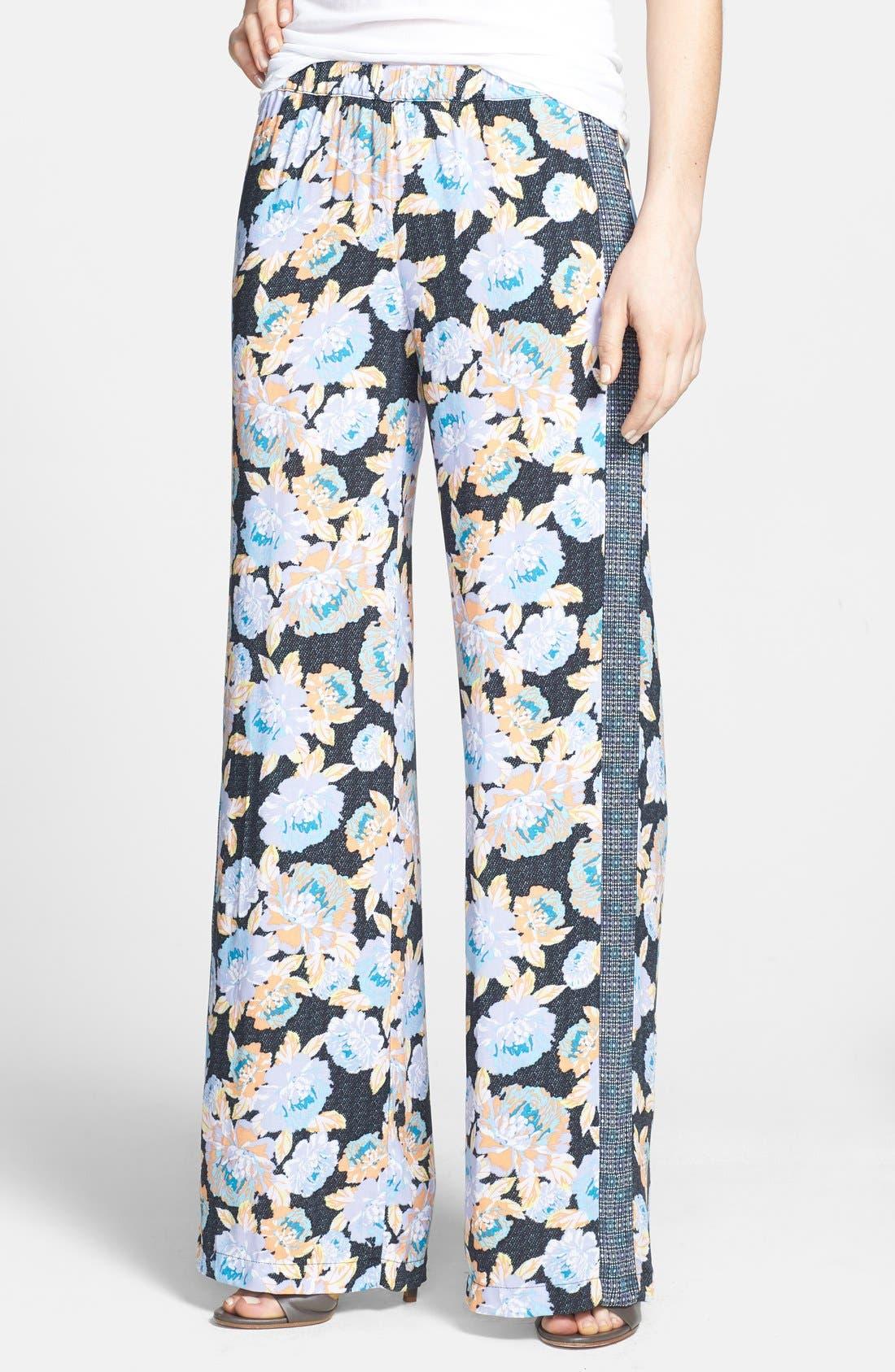 'Delilah' Mixed Print Wide Leg Pants, Main, color, 001