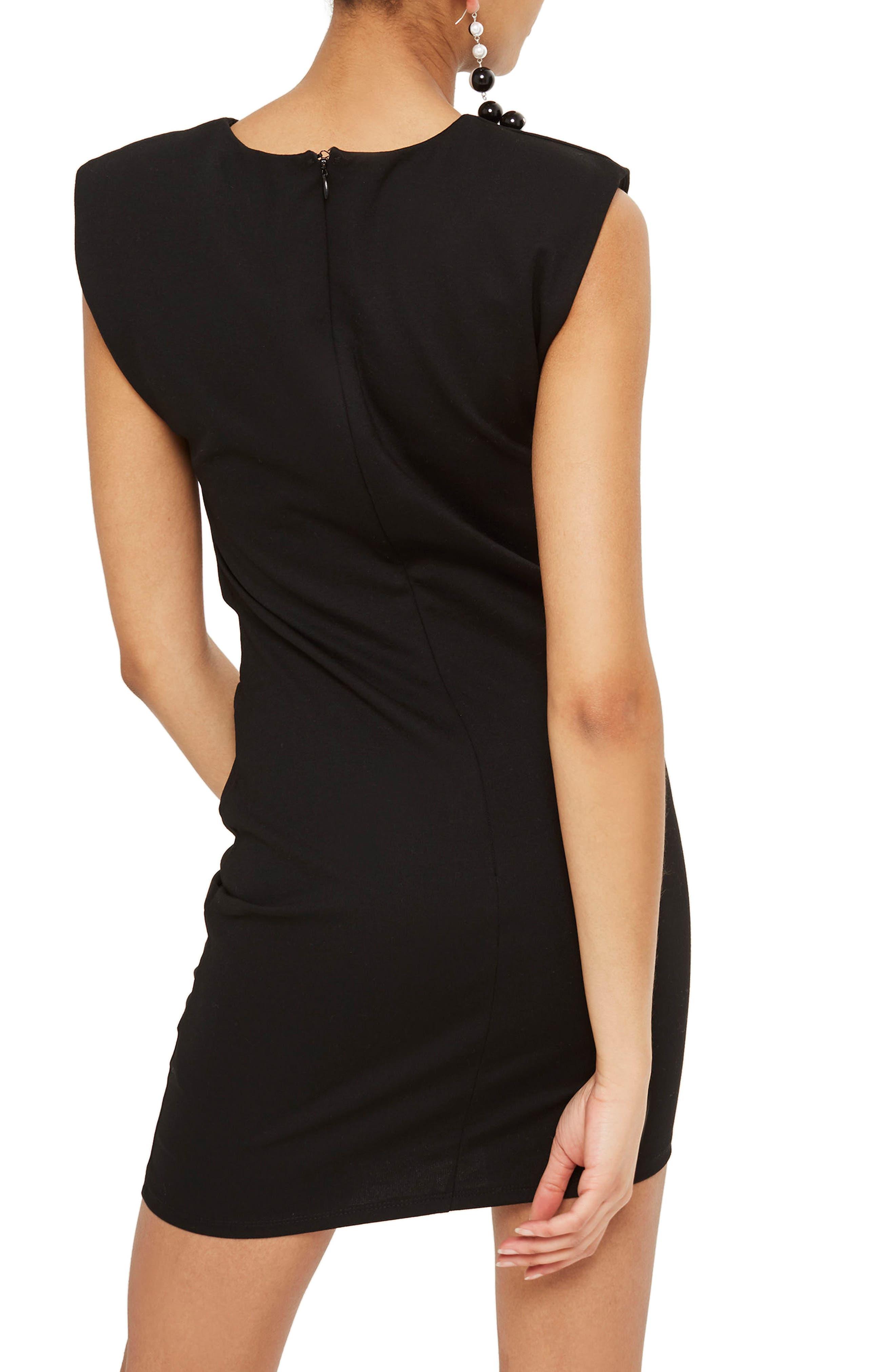 Shoulder Pad Body-Con Minidress,                             Alternate thumbnail 2, color,                             001