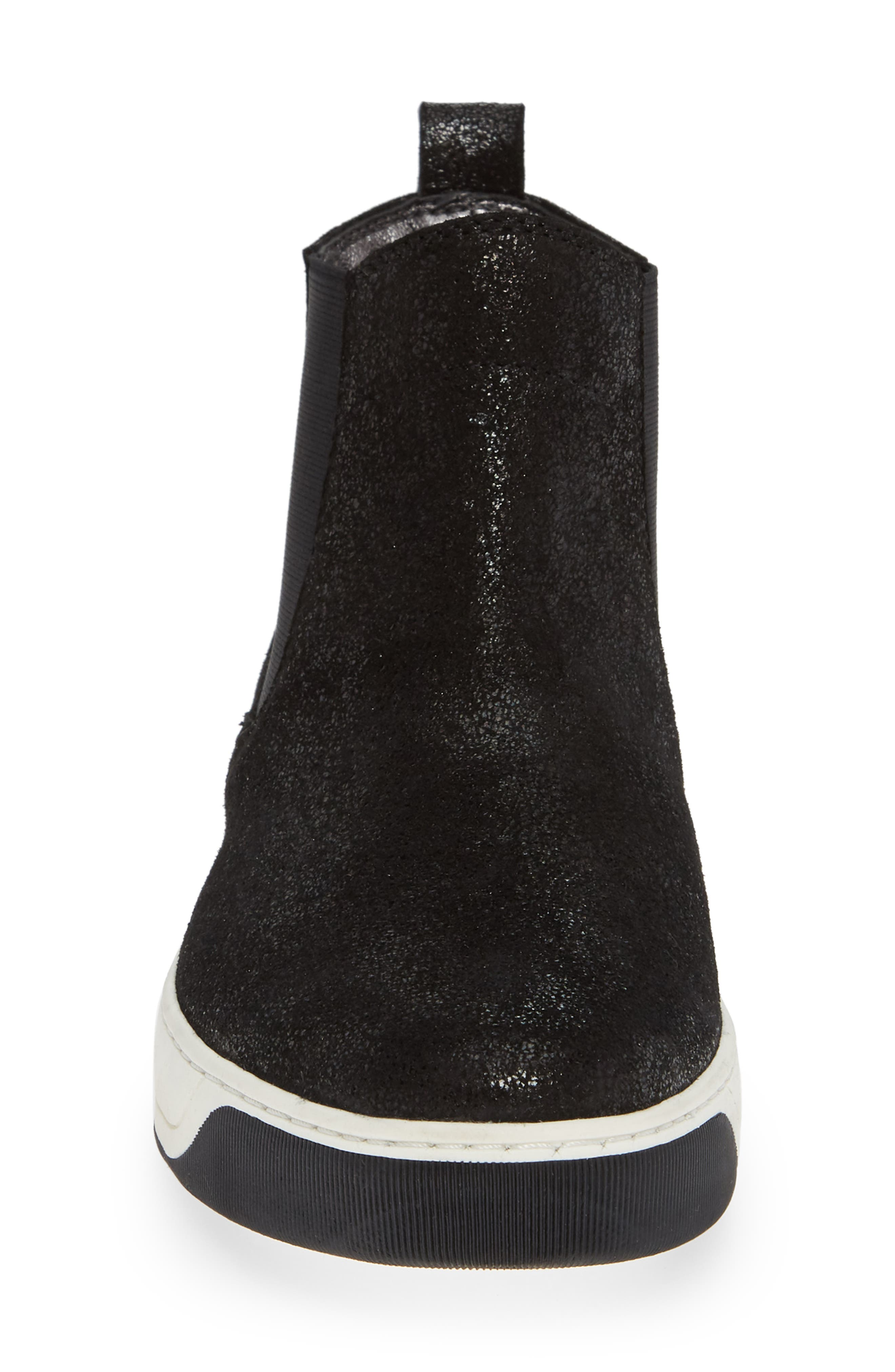Erica High Top Sneaker,                             Alternate thumbnail 4, color,                             BLACK LEATHER