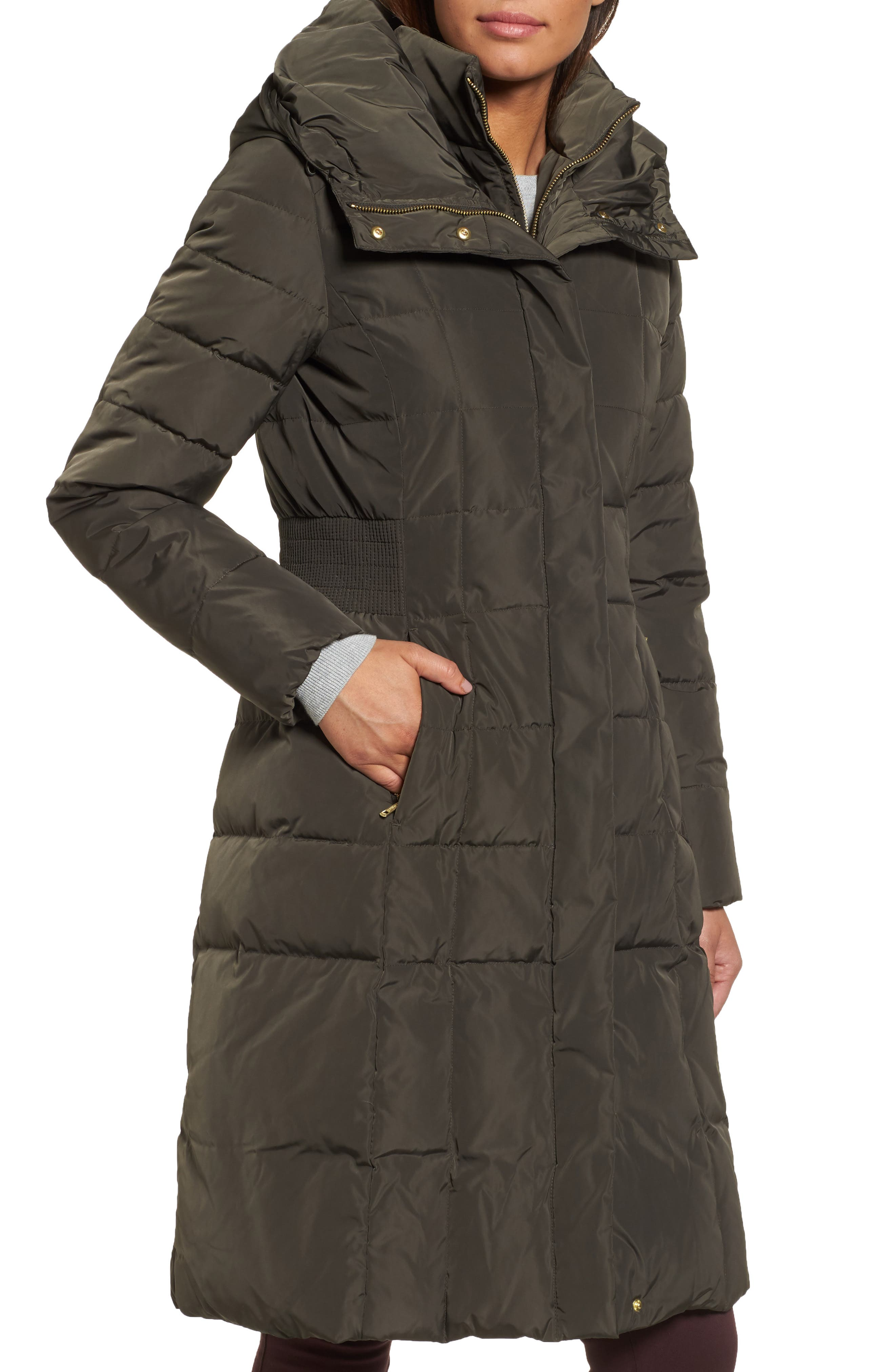 Cole Haan Bib Insert Down & Feather Fill Coat,                             Alternate thumbnail 4, color,                             FOREST