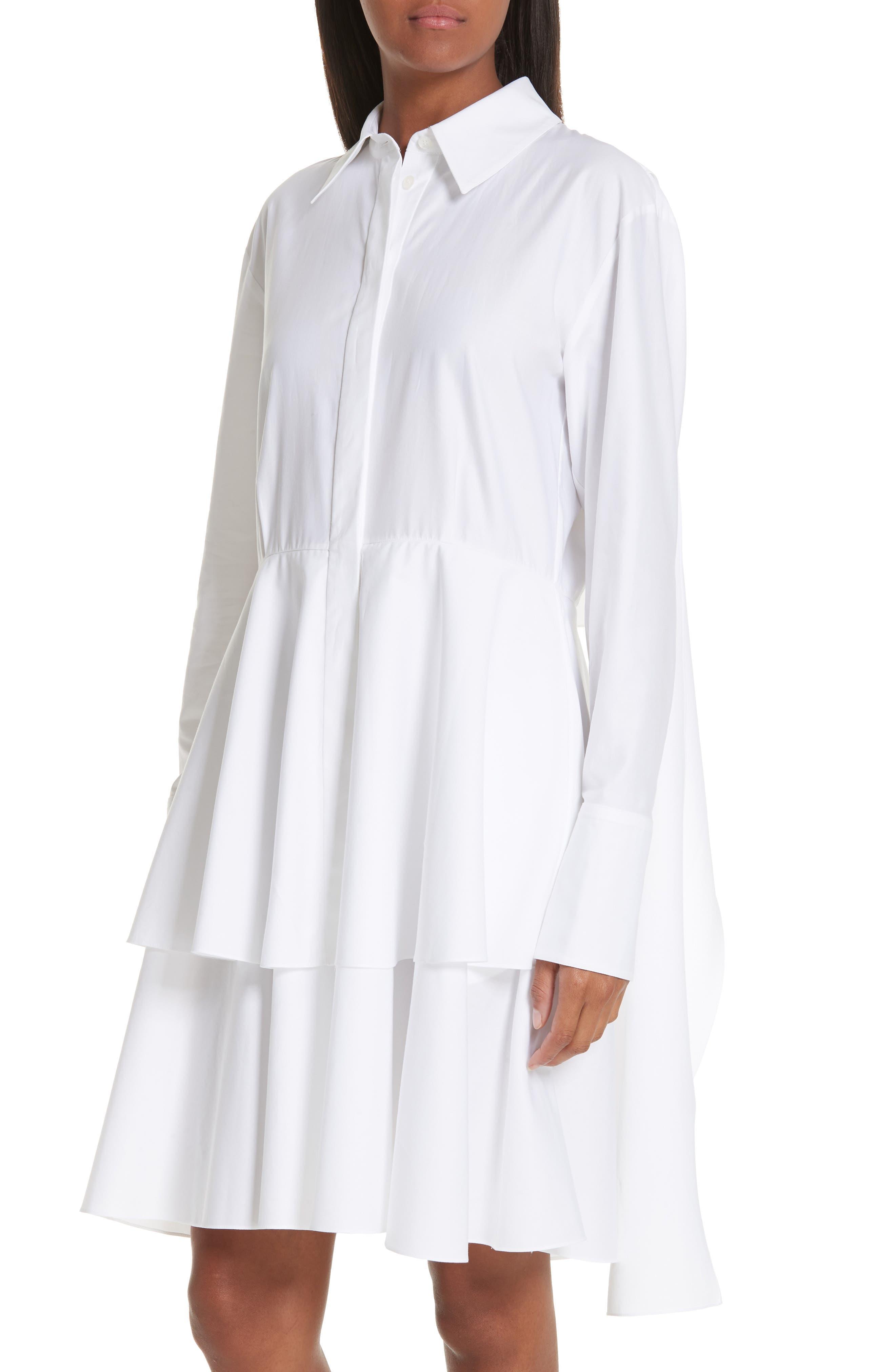 Tie Waist Tiered Poplin Dress,                             Alternate thumbnail 4, color,                             PURE WHITE