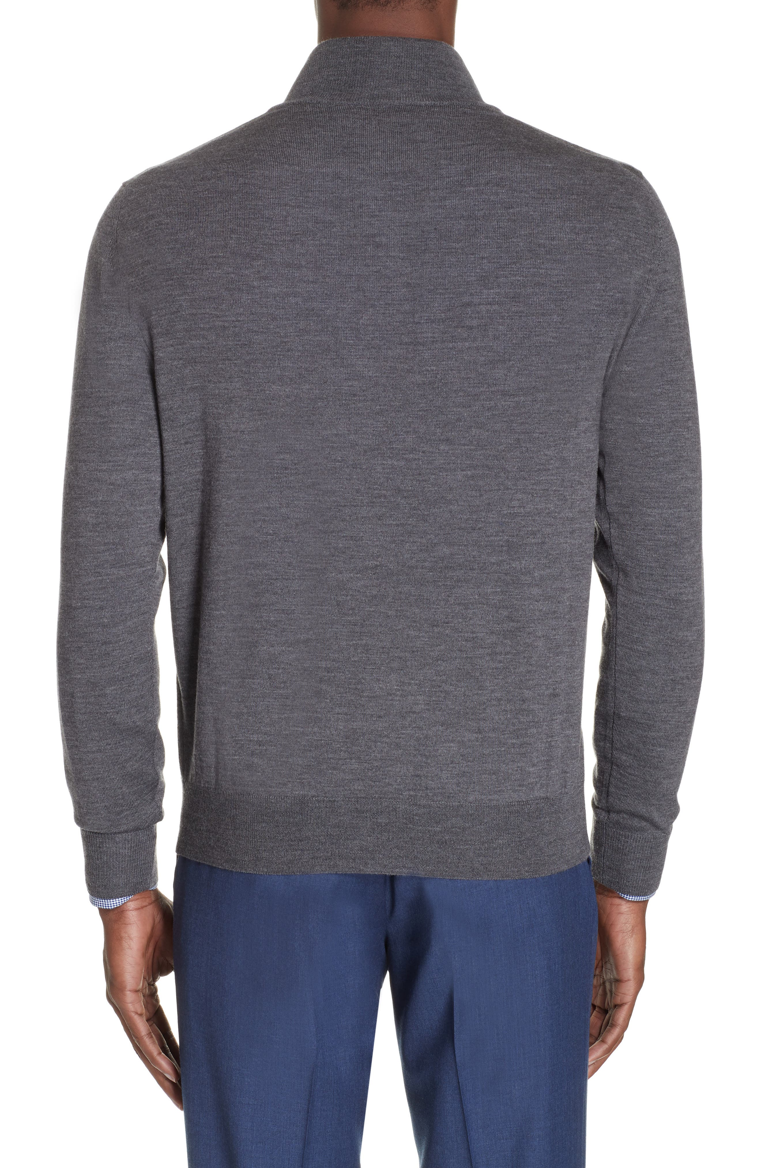Wool Quarter Zip Pullover,                             Alternate thumbnail 2, color,                             CHARCOAL