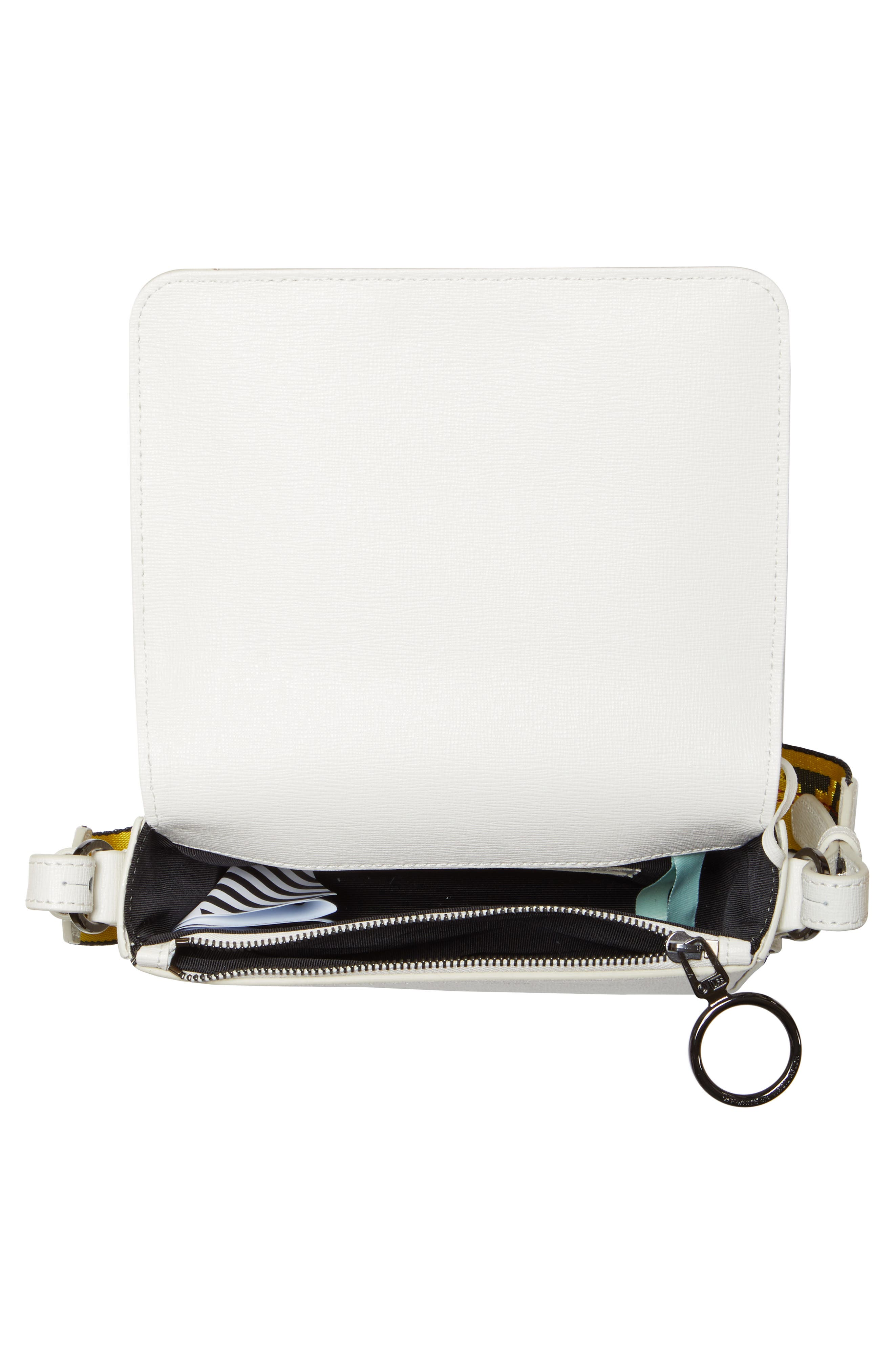 Mini Leather Flap Bag,                             Alternate thumbnail 4, color,                             WHITE NO COLOR