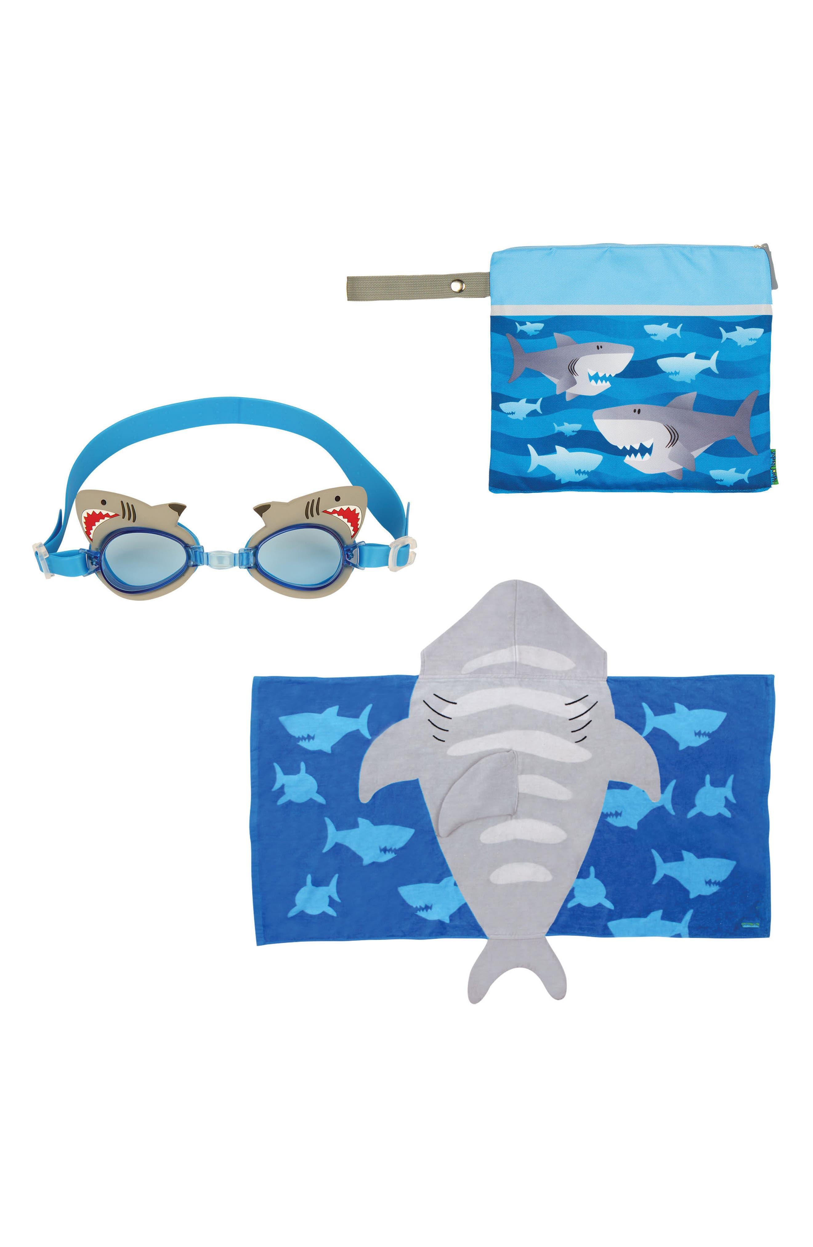 Bag, Hooded Towel & Goggles,                         Main,                         color, BLUE SHARK