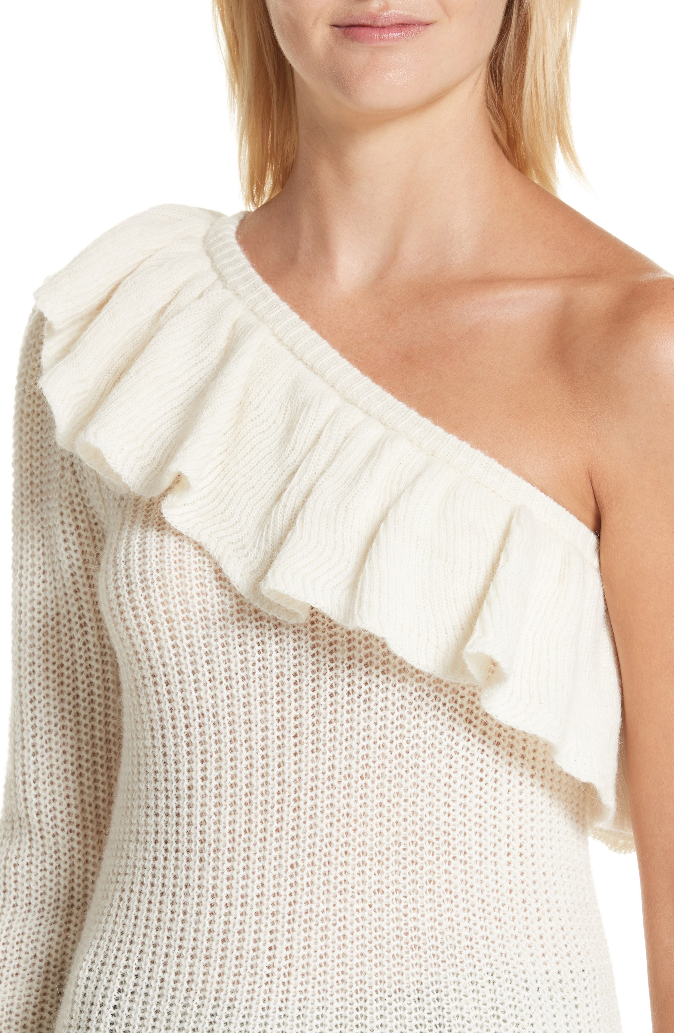 One-Shoulder Ruffle Sweater,                             Alternate thumbnail 4, color,                             907