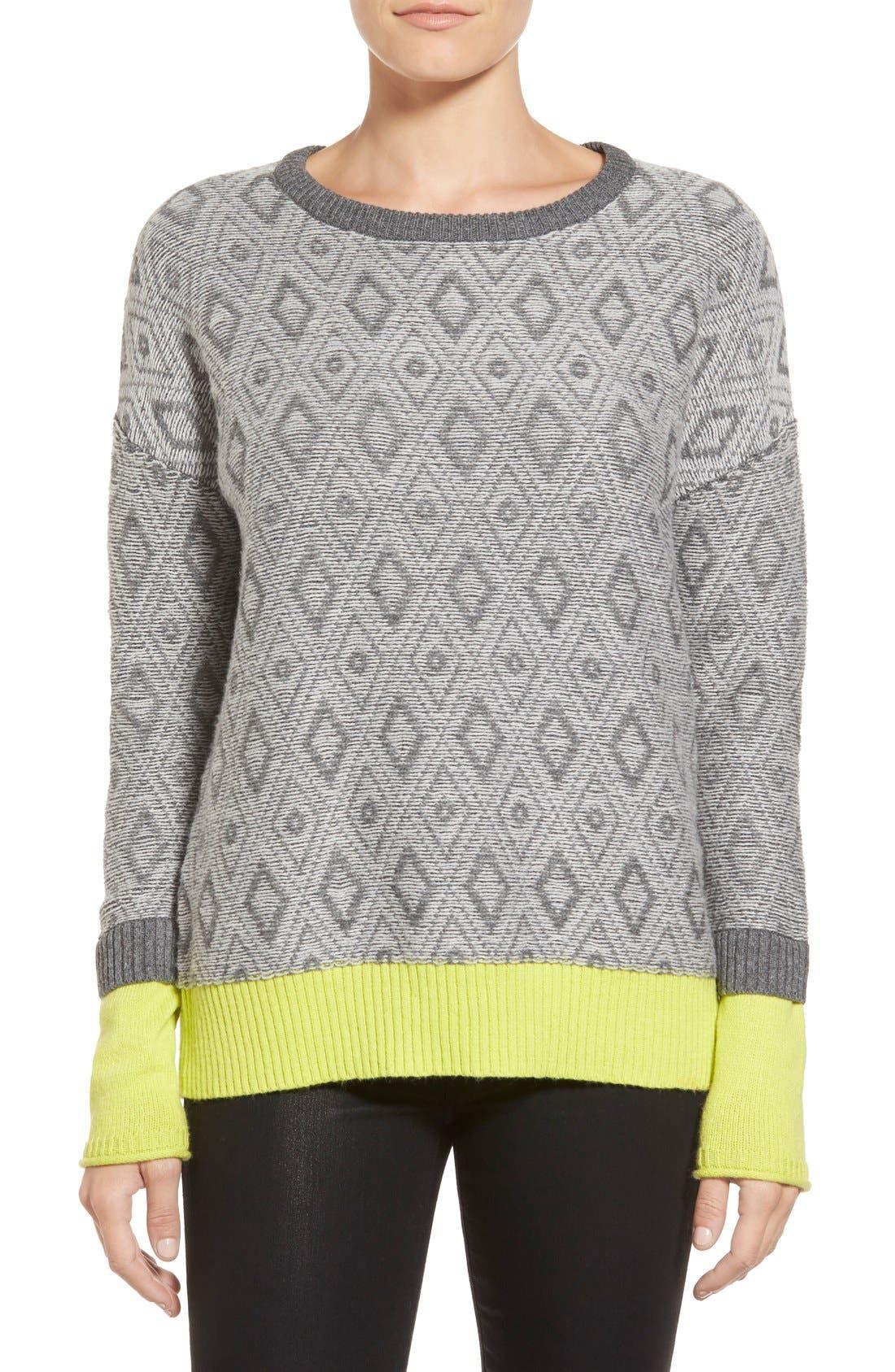 Contrast Cuff Crewneck Sweater,                             Main thumbnail 3, color,