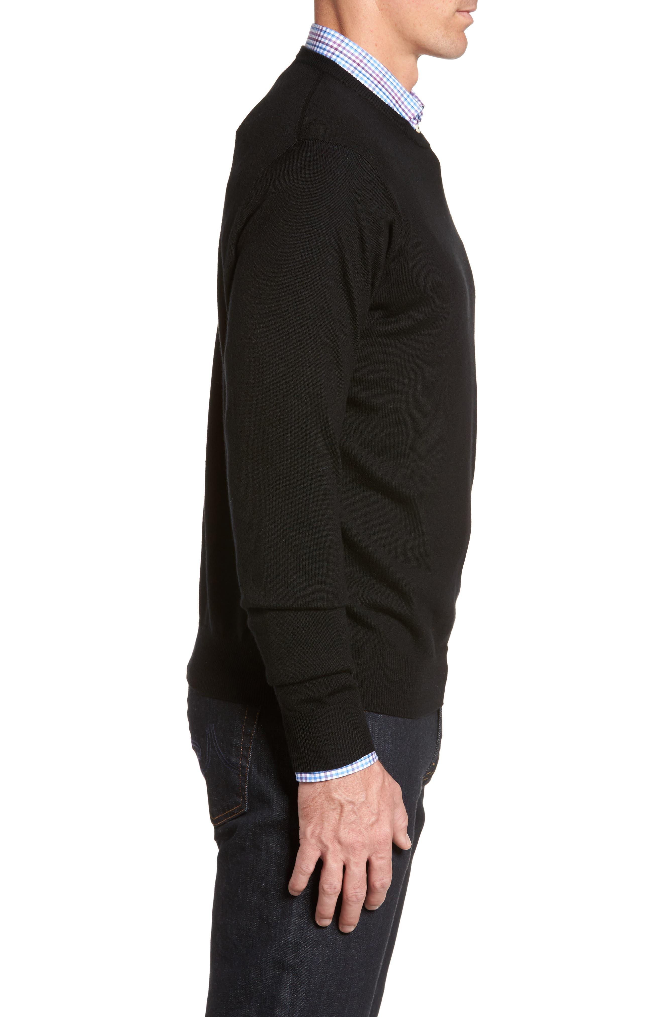 Crown Soft Merino Wool & Silk Crewneck Sweater,                             Alternate thumbnail 3, color,                             001