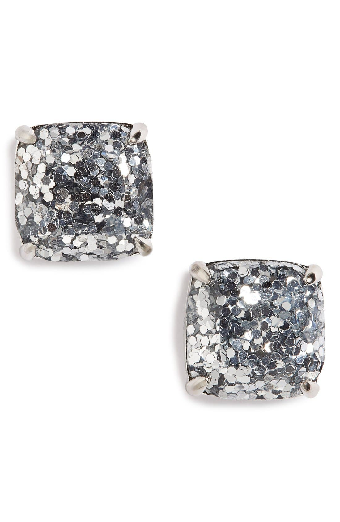 glitter stud earrings,                             Main thumbnail 1, color,                             SILVER GLITTER