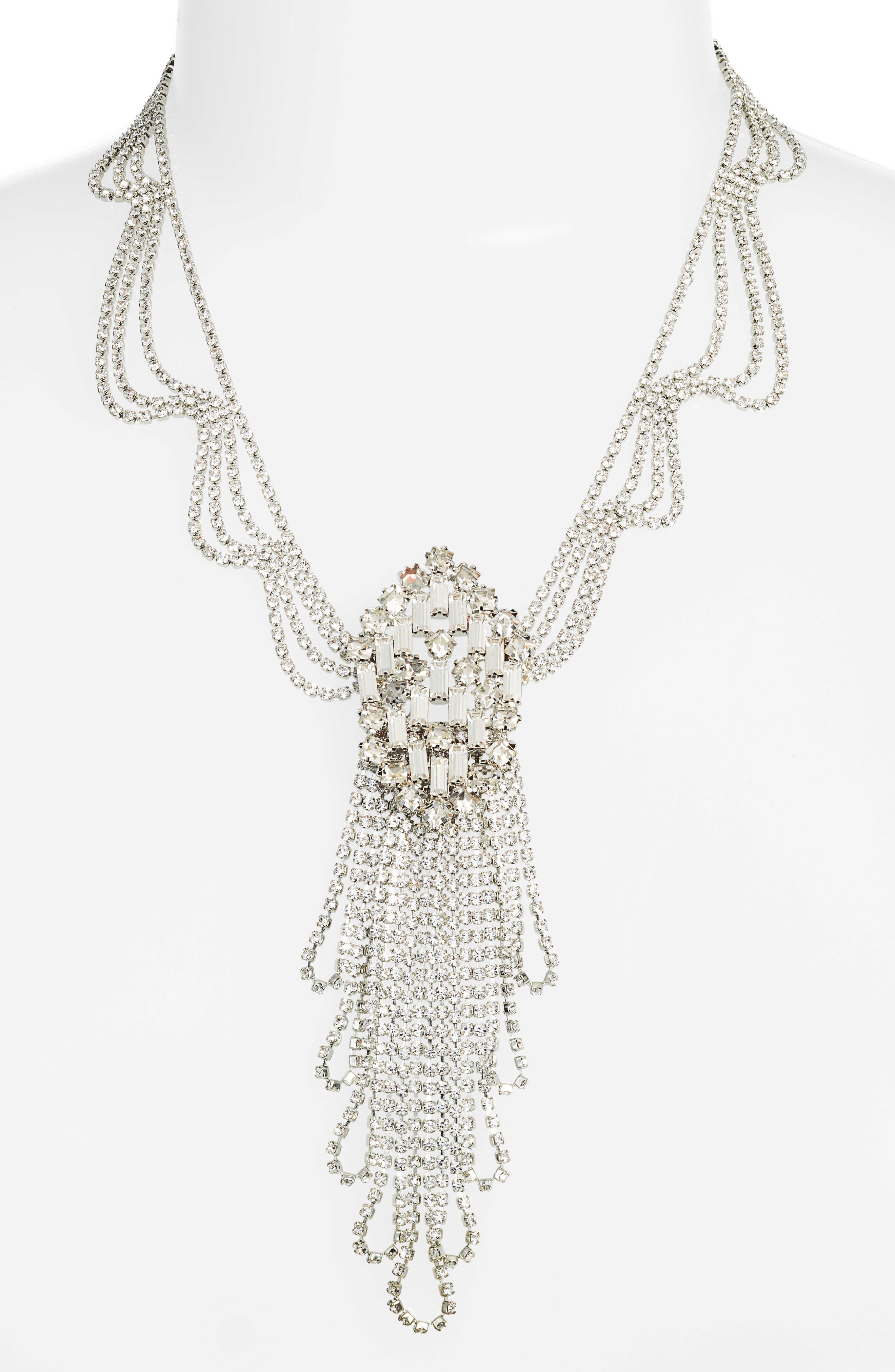 Multi Drape Crystal Necklace,                             Alternate thumbnail 2, color,                             040