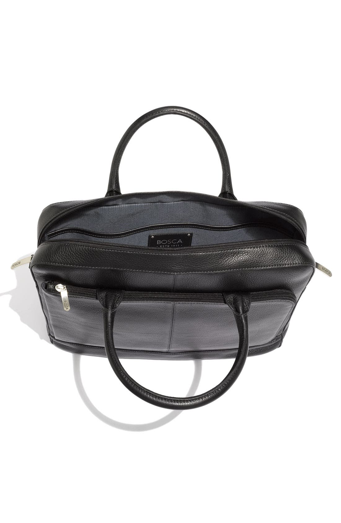 Slim Leather Briefcase,                             Alternate thumbnail 3, color,