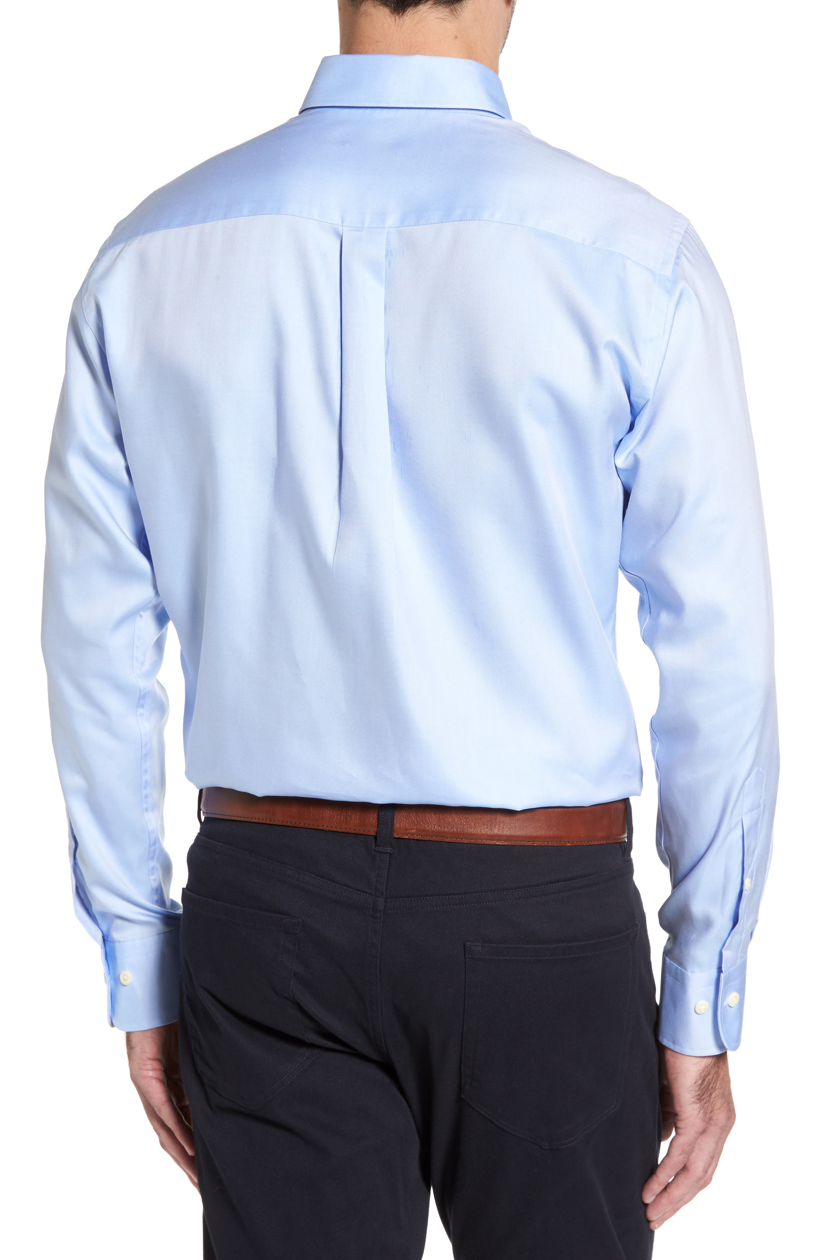 Crown Soft Regular Fit Pinpoint Sport Shirt,                             Alternate thumbnail 2, color,                             WATER'S EDGE