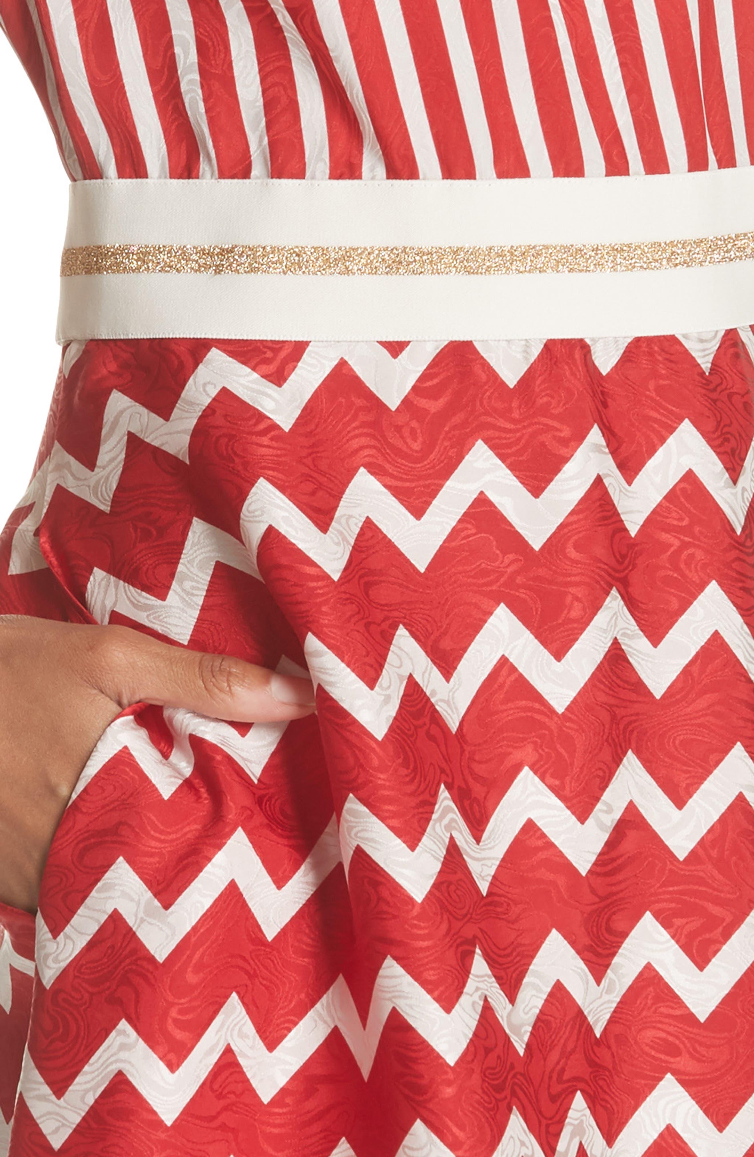 STELLA MCCARTNEY,                             Zigzag Stripe Silk Dress,                             Alternate thumbnail 4, color,                             627