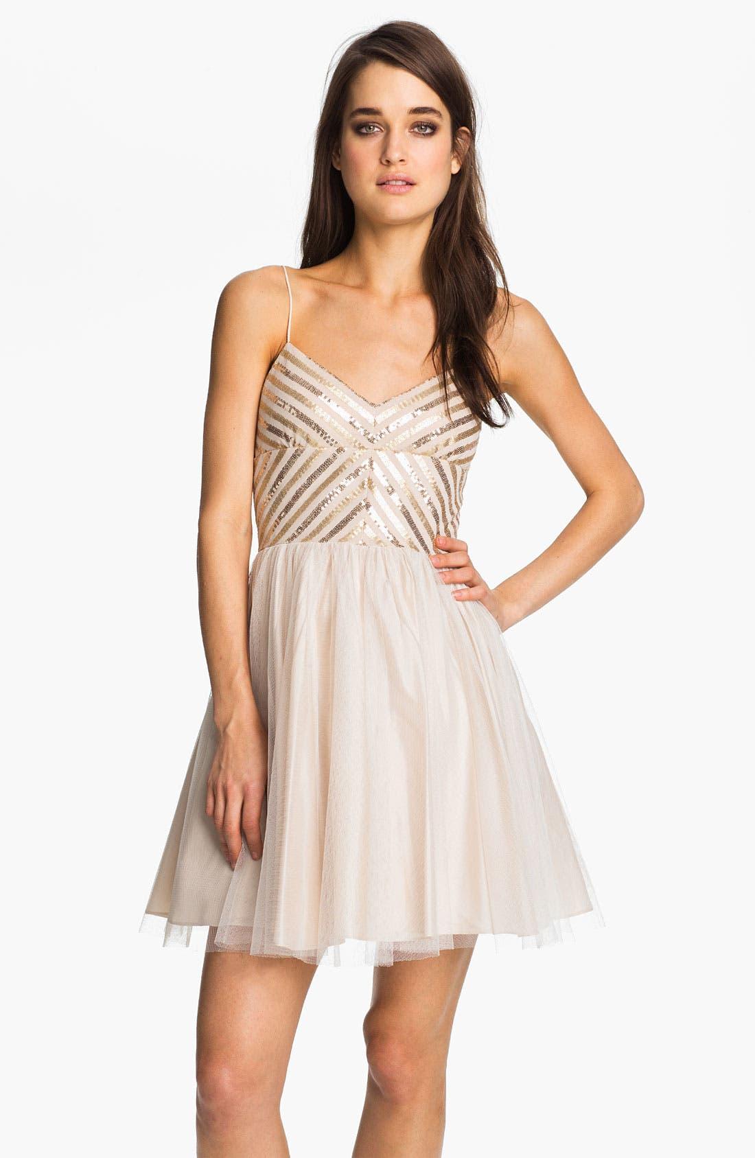 Aidan by Aidan Mattox Spaghetti Strap Sequin & Tulle Dress,                         Main,                         color, 250
